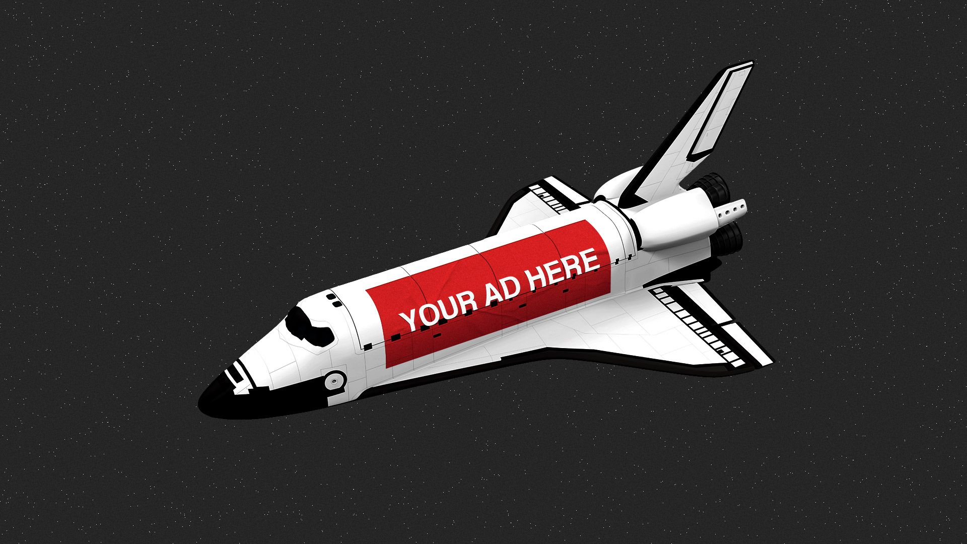 """Illustration of a space shuttle with a """"YOUR AD HERE"""" vinyl billboard pasted along the side."""