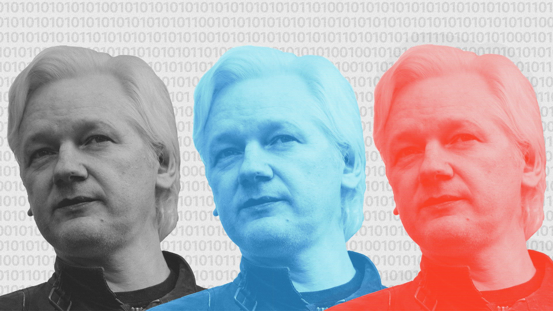 Three different colored images of Julian Assange's head