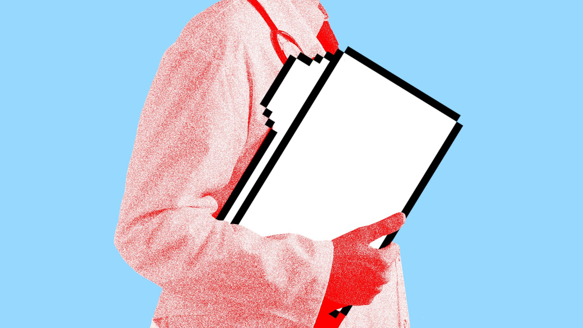 Illustration of a doctor carrying a computer as a file