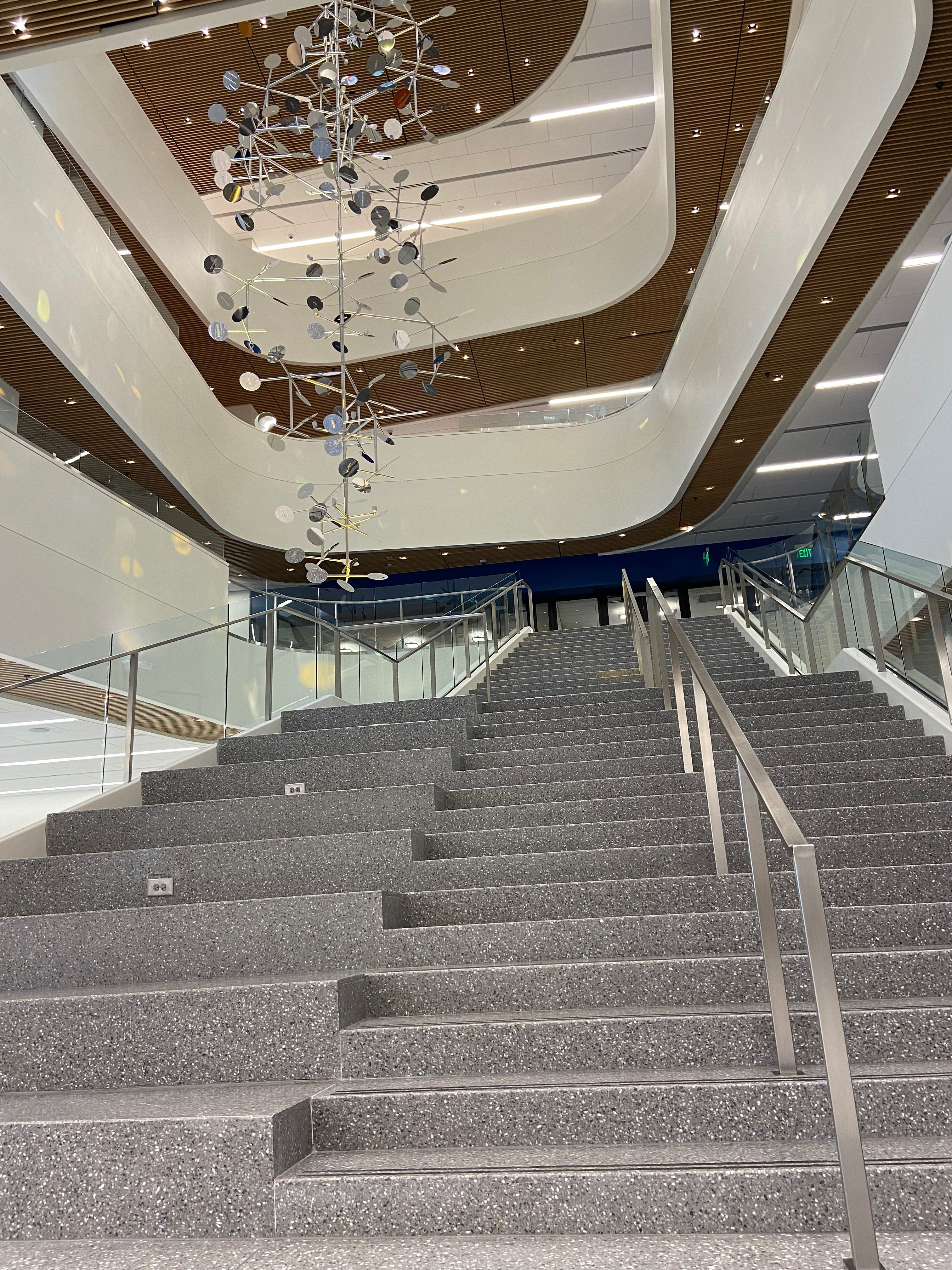 A new central staircase and airway offer auditorium-style seating and easy access to the second floor