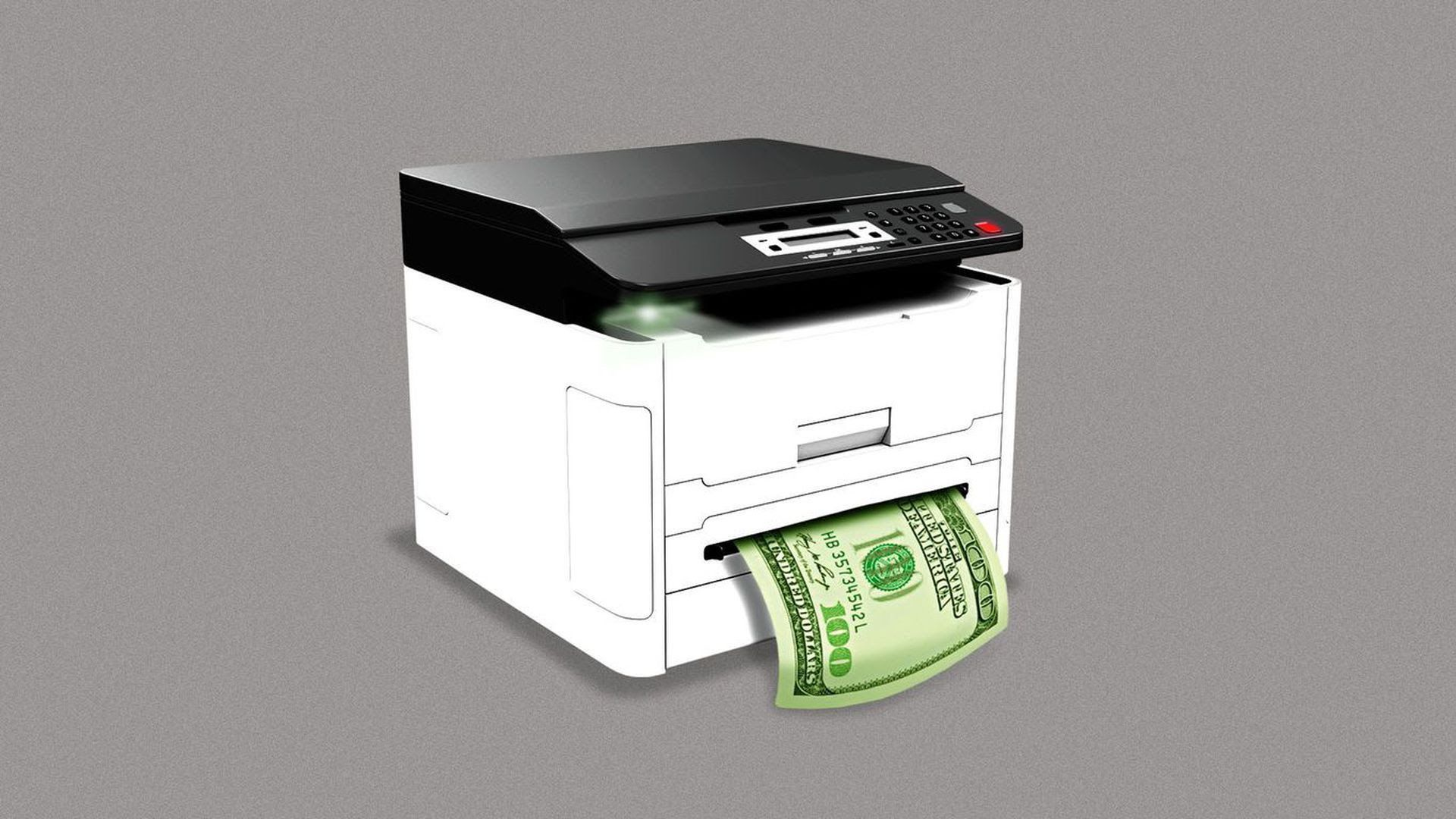 An illustration of a xerox machine printing out money.