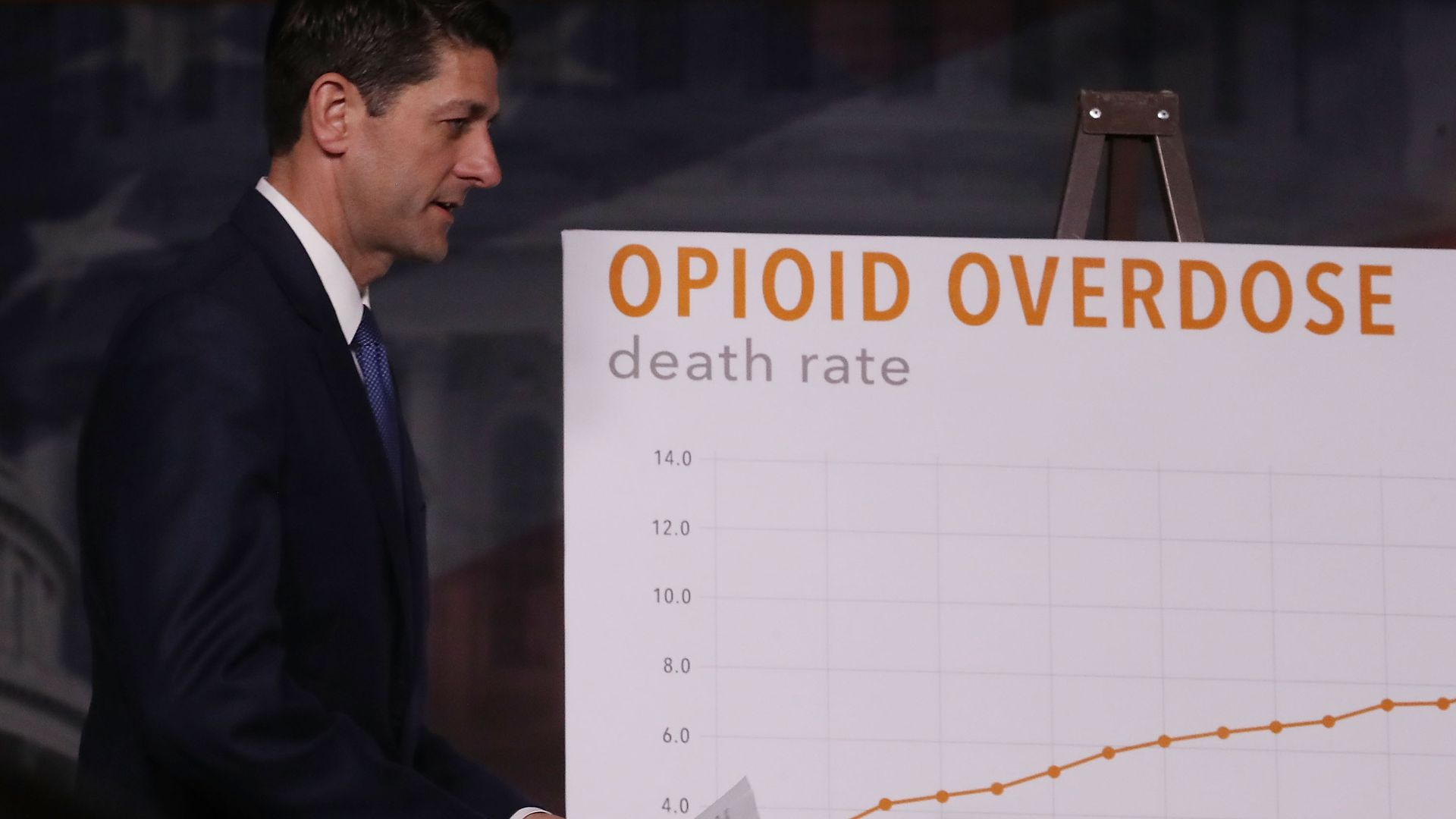 Paul Ryan stands next to a graph depicting an increase in drug overdose deaths.