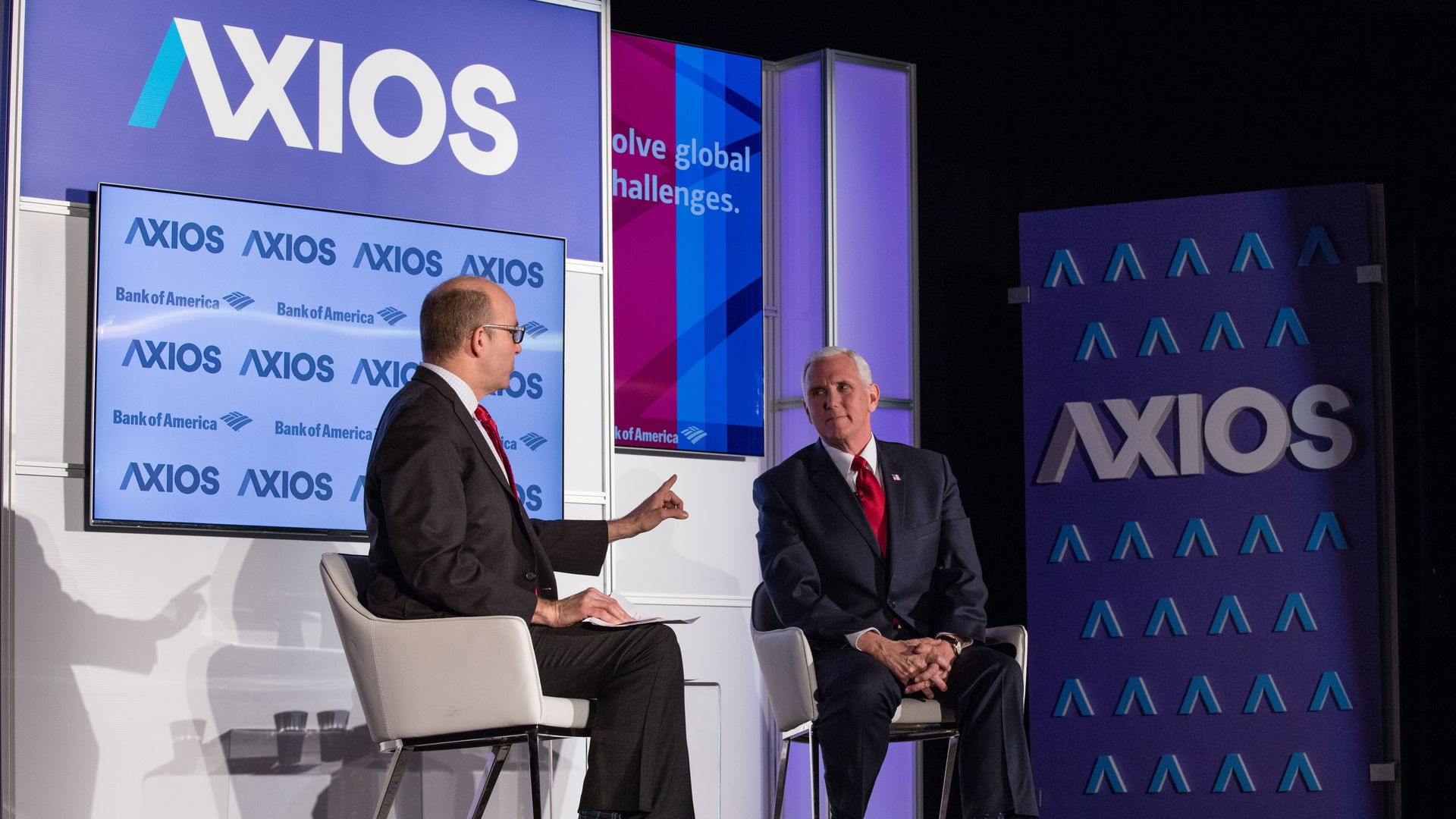 Mike Allen interviewing Mike Pence on the Axios stage.
