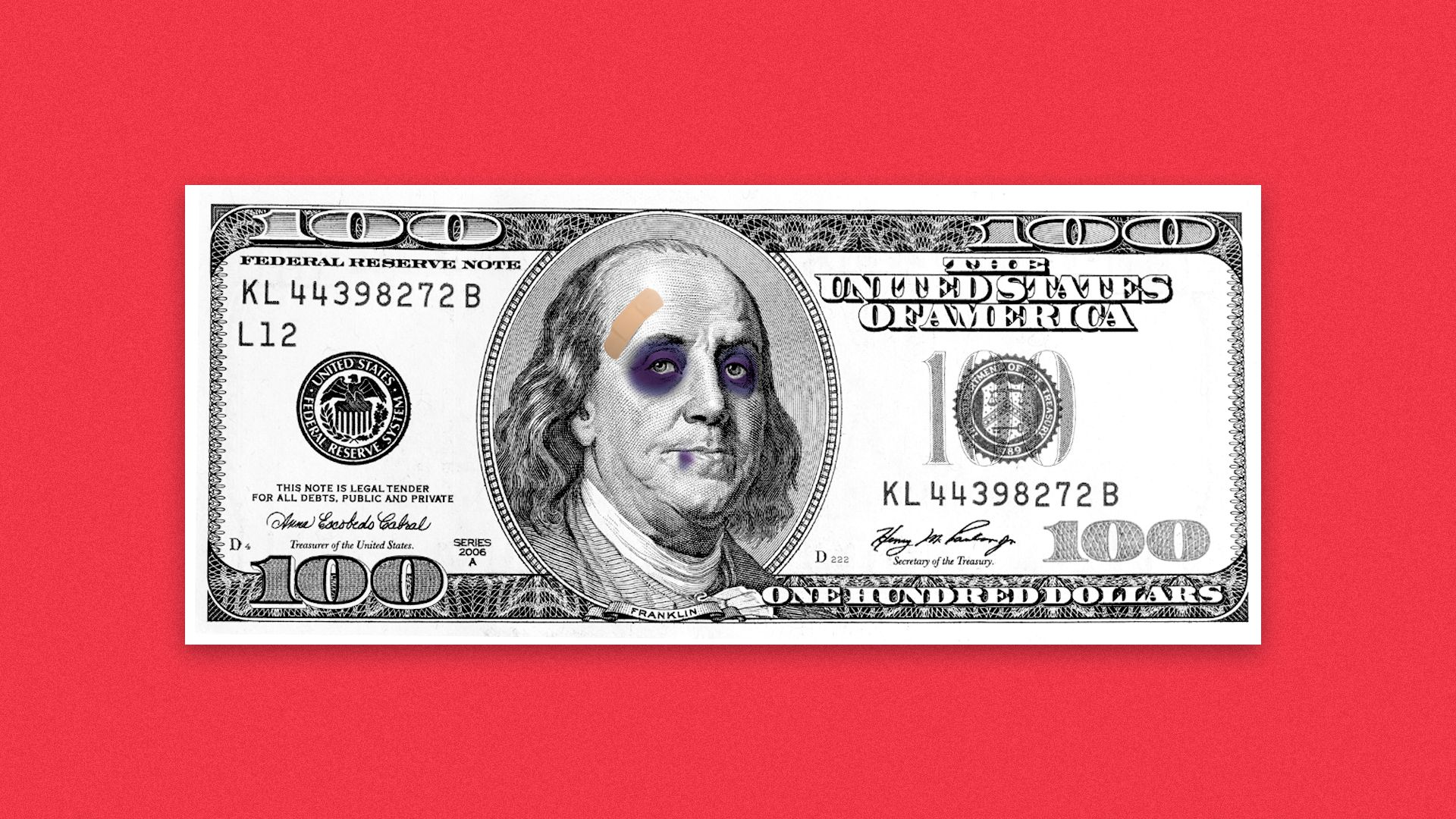 Illustration of a hundred dollar bill with Benjamin Franklin having two black eyes and a busted lip.