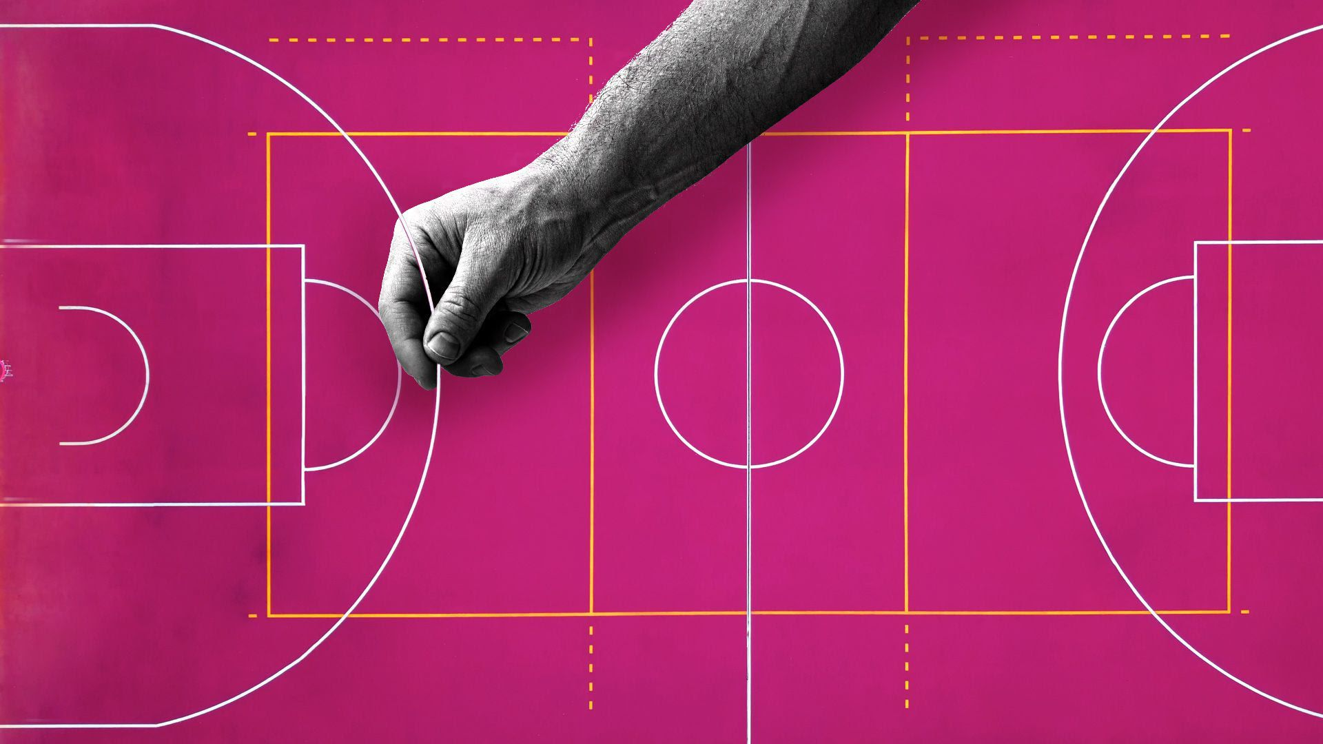 Illustration of a hand moving the 3-point line on a basketball court