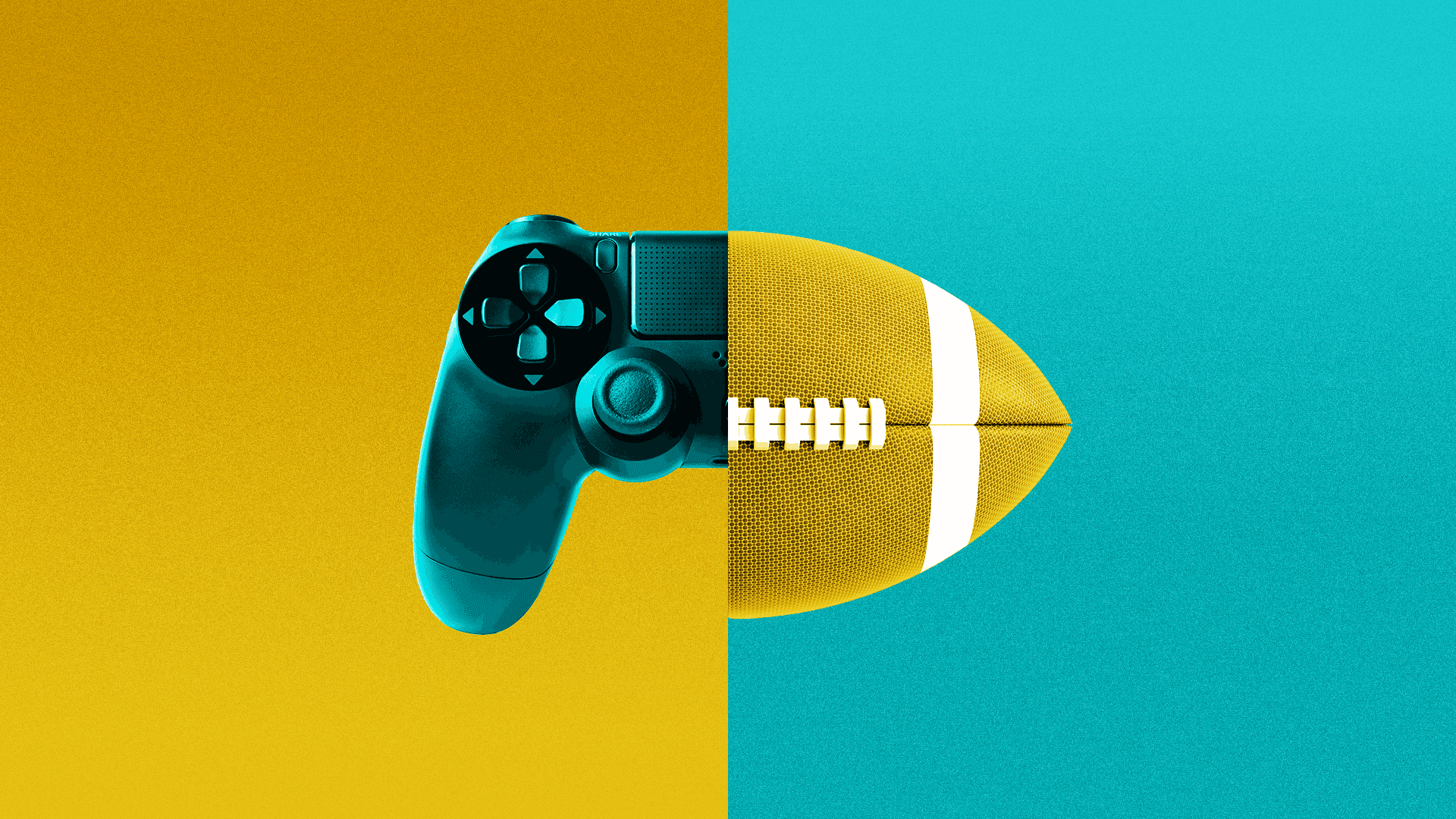 A split image of a gaming console and a football.