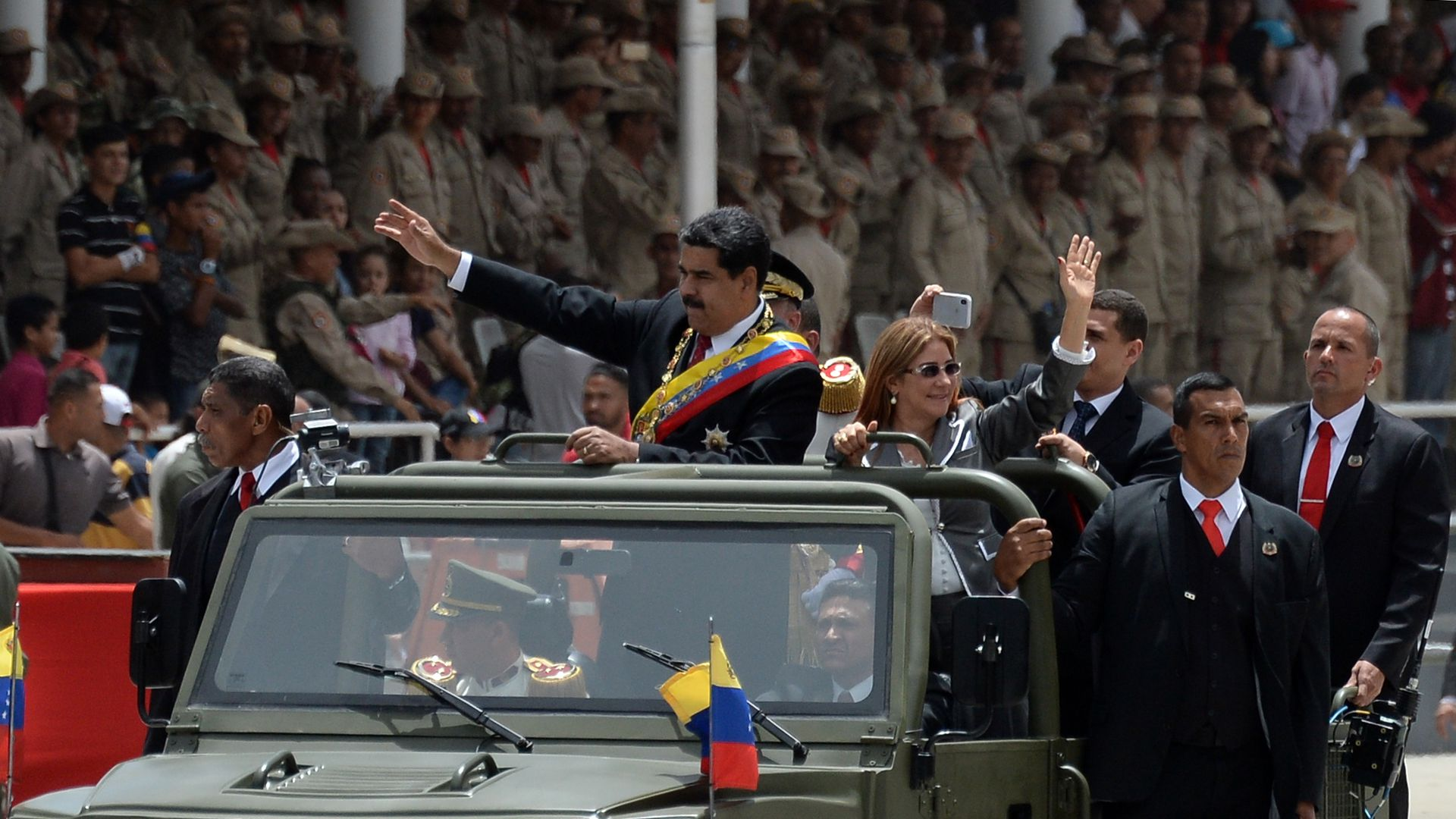 Maduro in military vehicle