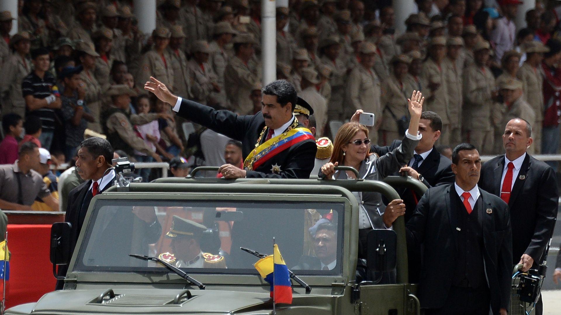 Maduro in military vehicle