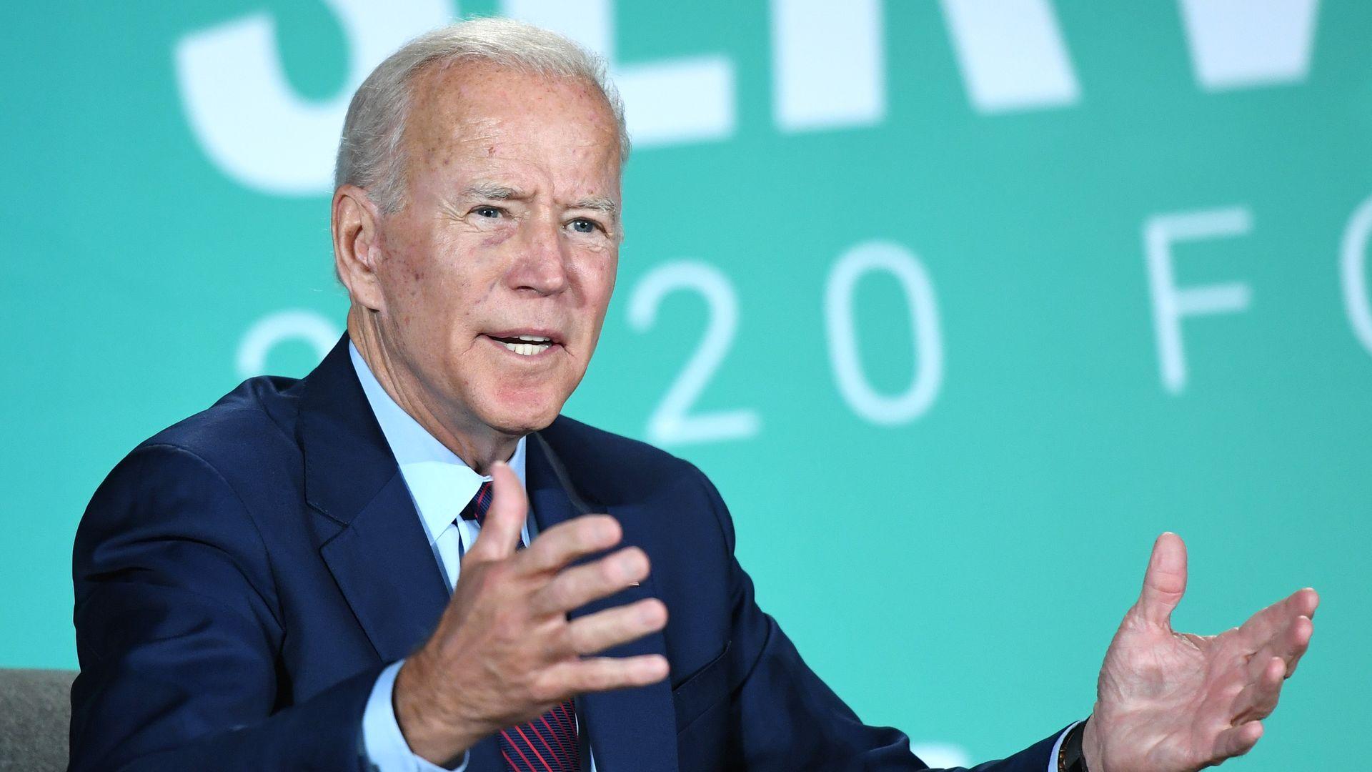 Former U.S. Vice President Joe Biden speaks during the 2020 Public Service Forum