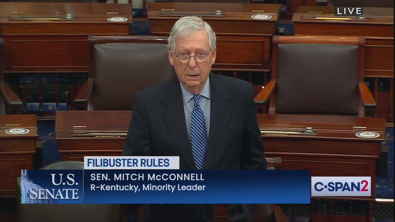 """""""Scorched-earth Senate"""": McConnell warns of GOP retribution if Democrats eliminate filibuster thumbnail"""