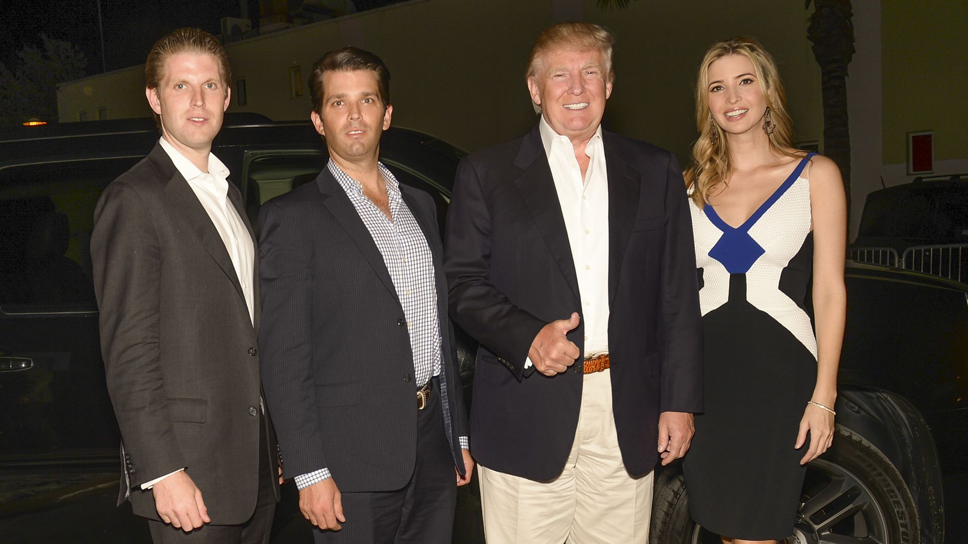 Eric Trump, Donald Trump, Jr., President Trump, and Ivanka Trump arrive to The Opening Drive Party at Hyde Beach on March 4, 2014 in Miami, Florida.