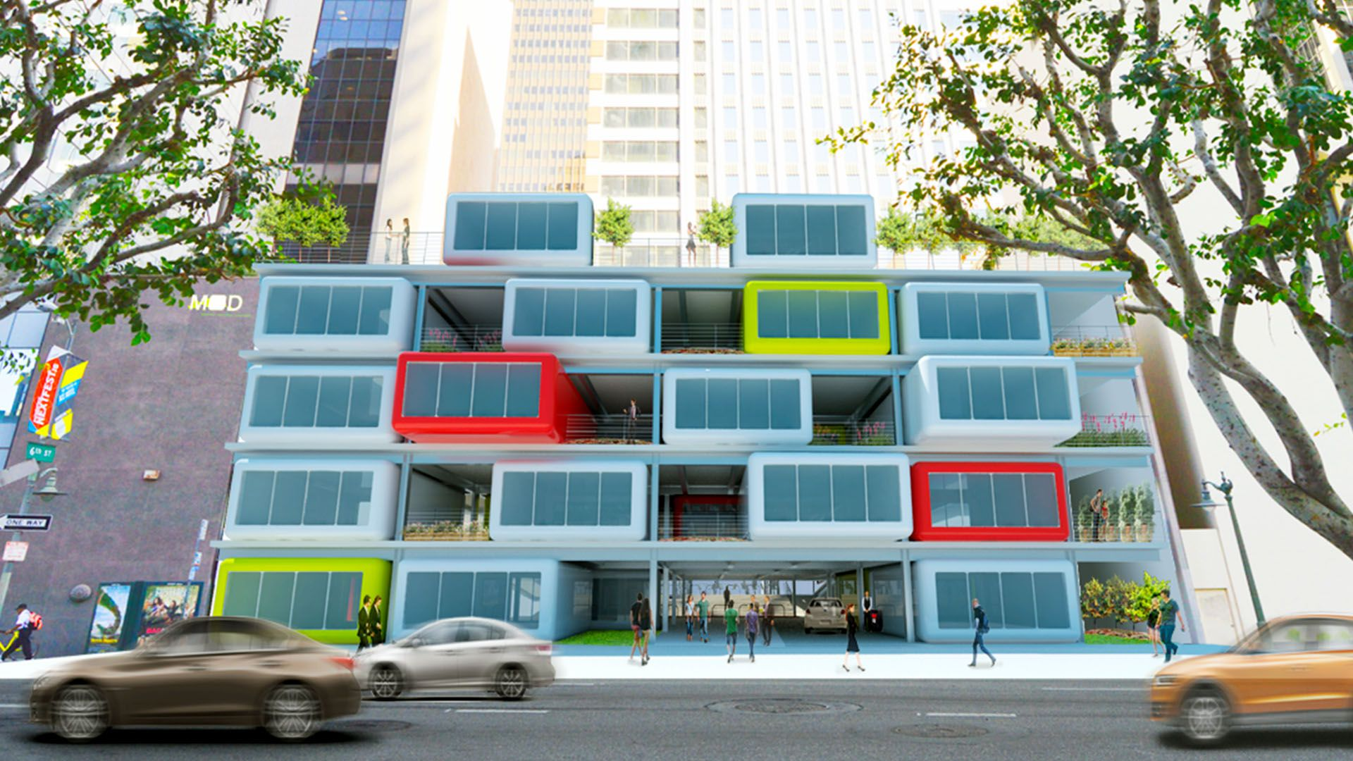 Architectural rendering of a repurposed parking structure in Los Angeles