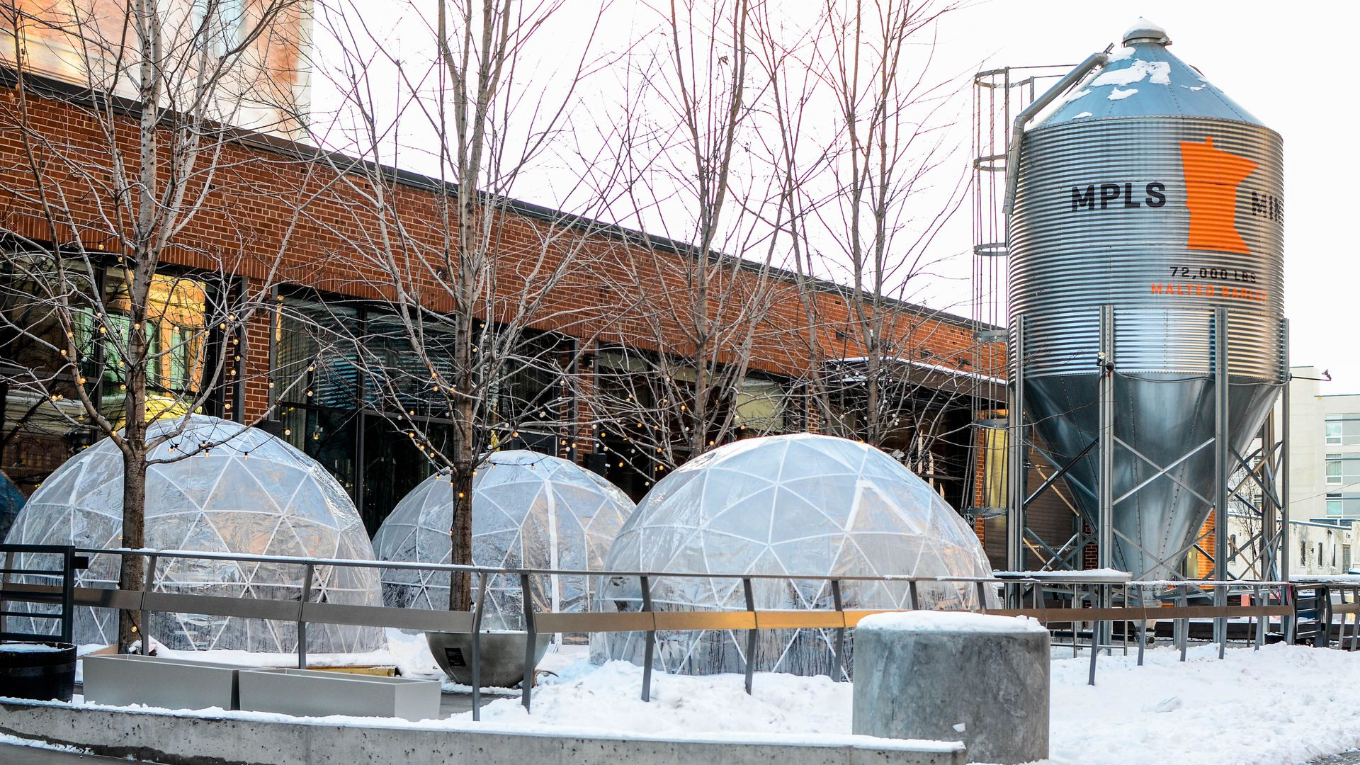 large clear domes on restaurant patio