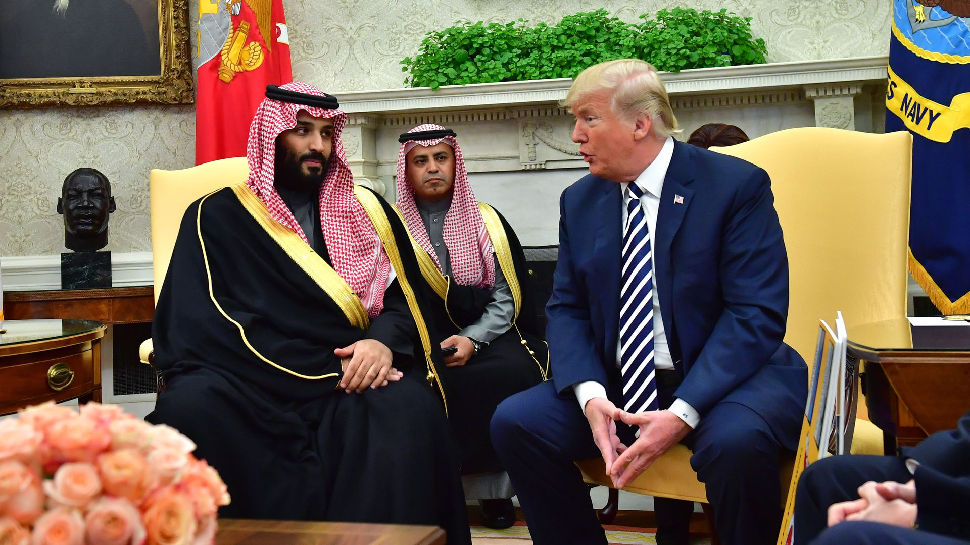 President Donald Trump meets Crown Prince Mohammed bin Salman.