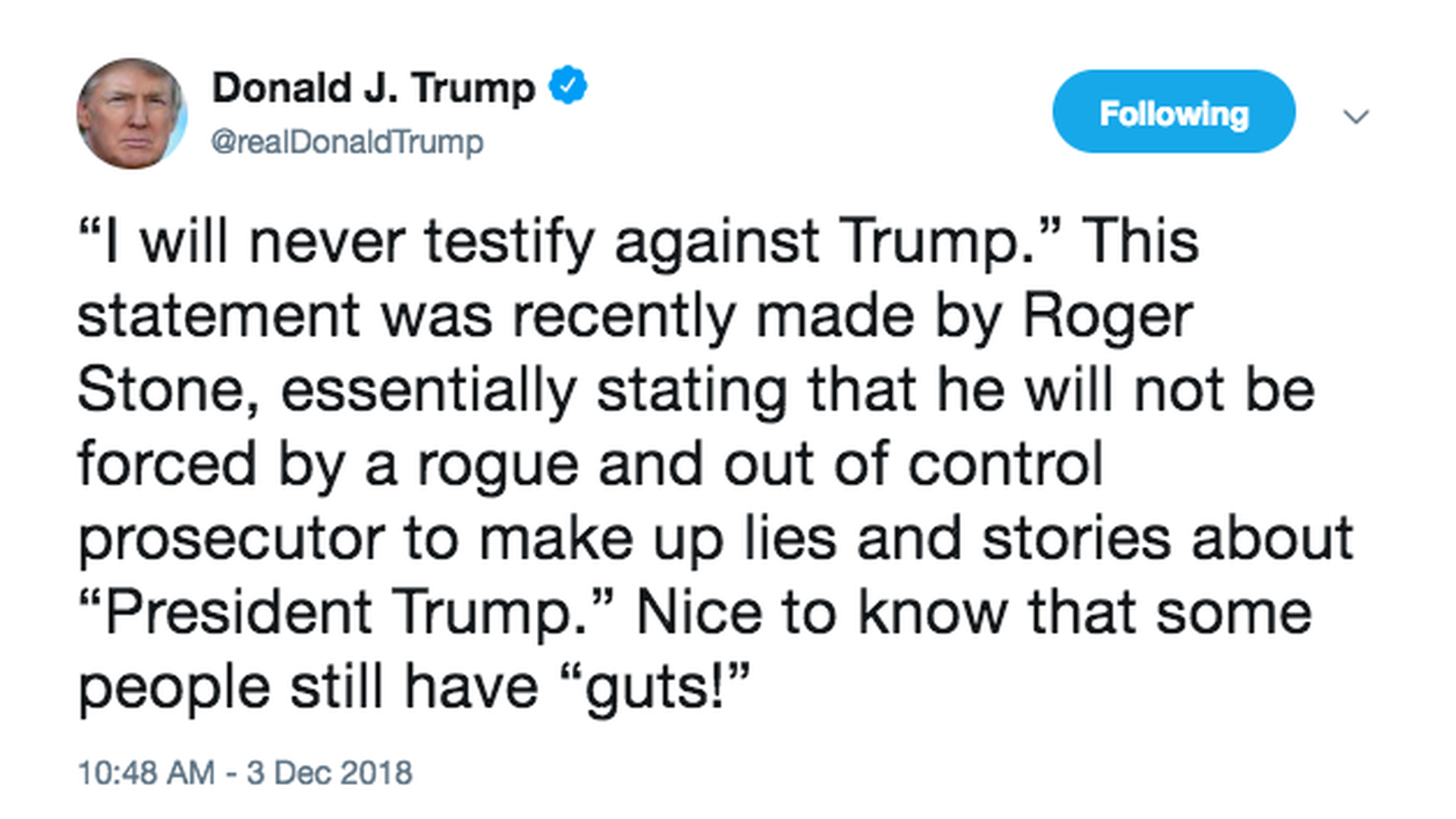 Trump praises Roger Stone for not cooperating with Mueller