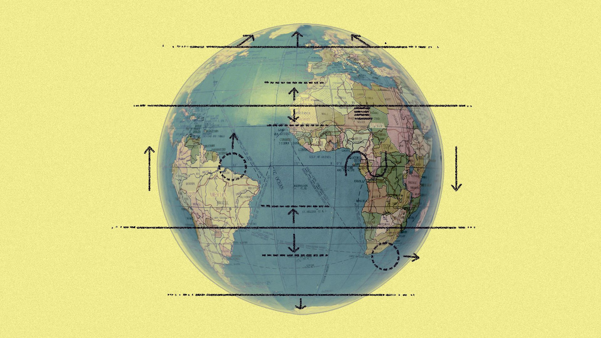 Illustration of globe with climate lines drawn around it