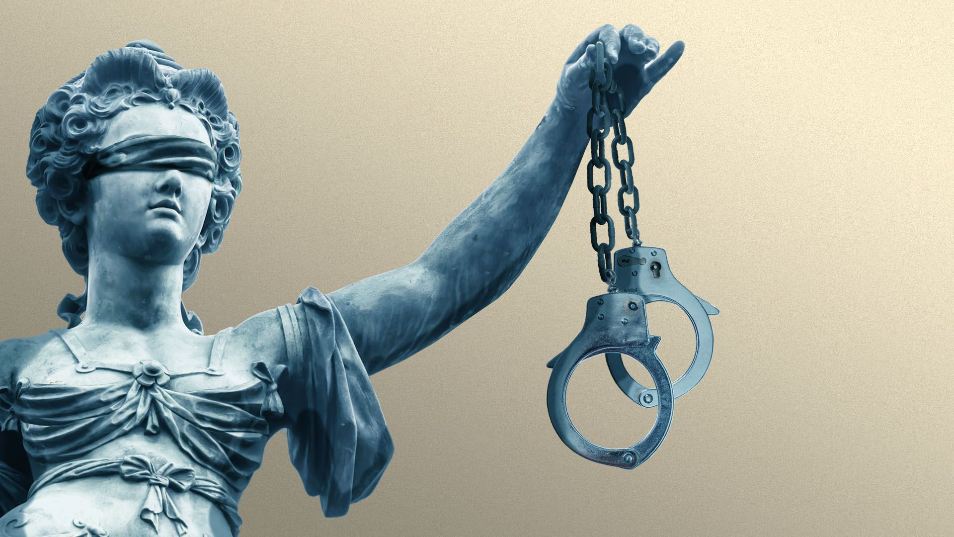 Illustration of the statue of Justice holding handcuffs in place of a scale