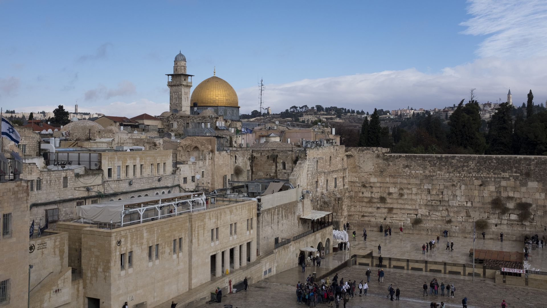 Dome of the Rock and the Western Wall in Jerusalem