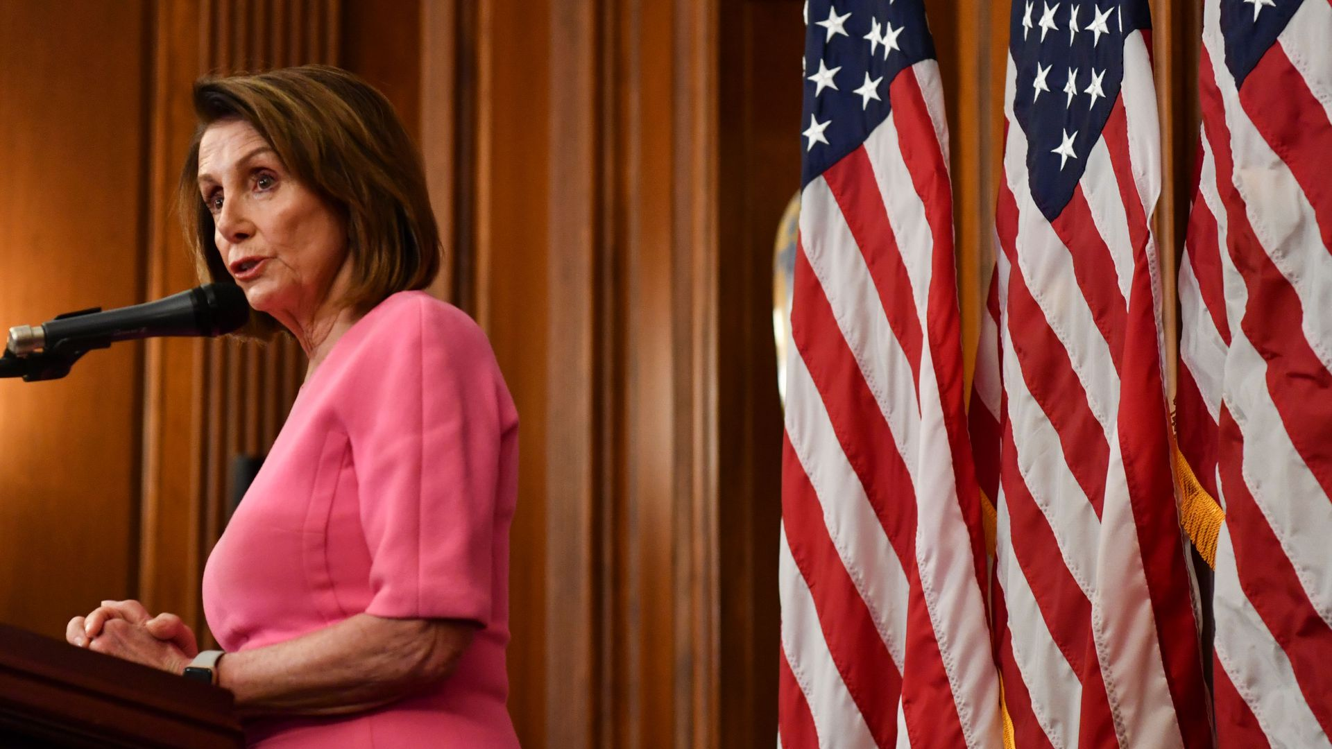 US House Minority leader Nancy Pelosi speaks during a press conference after Democrats took back control of the house in Washington, DC