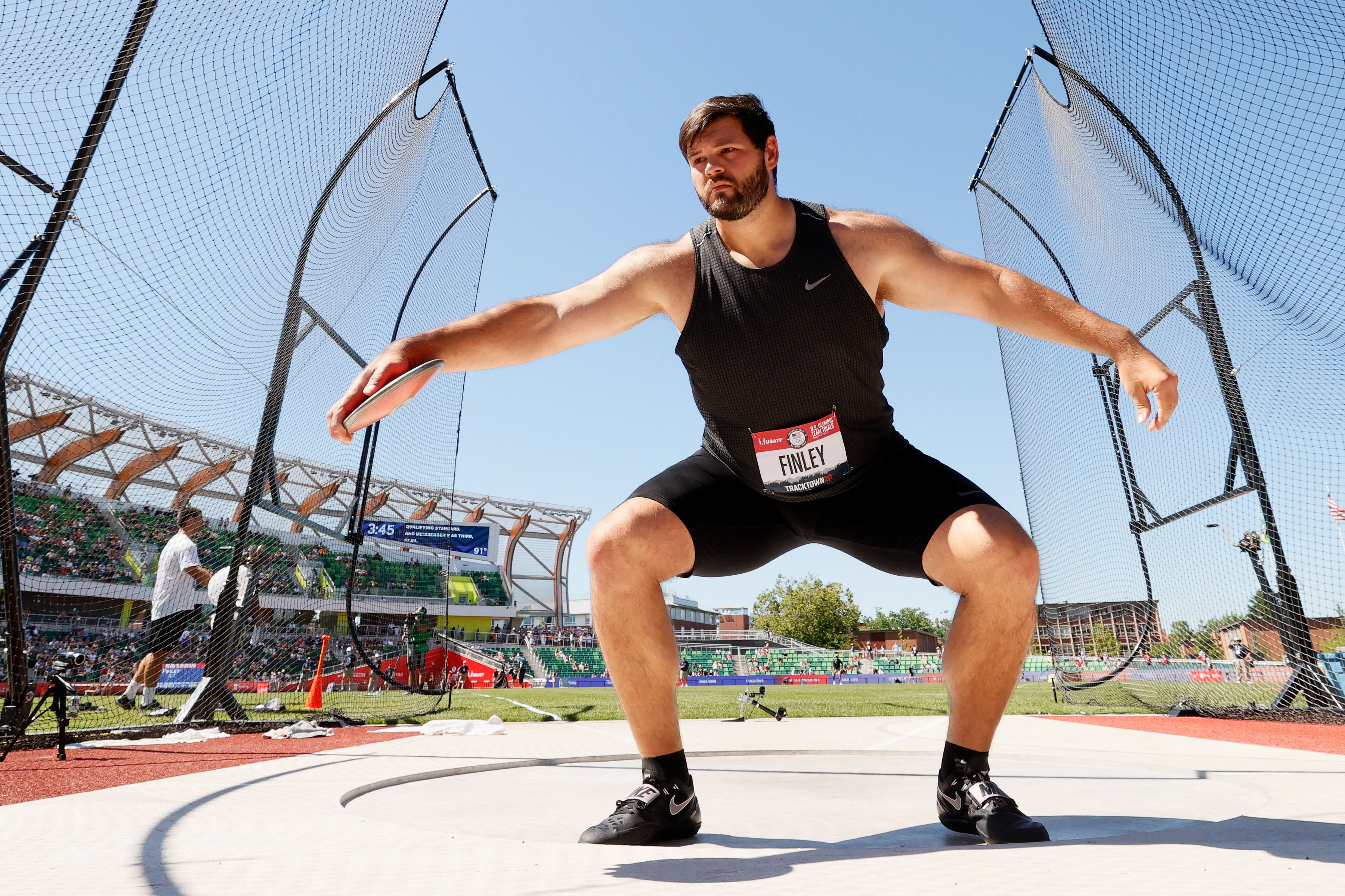 Mason Finley competes in the discus throw at the U.S. team trials in June. Photo: Andy Lyons/Getty Images