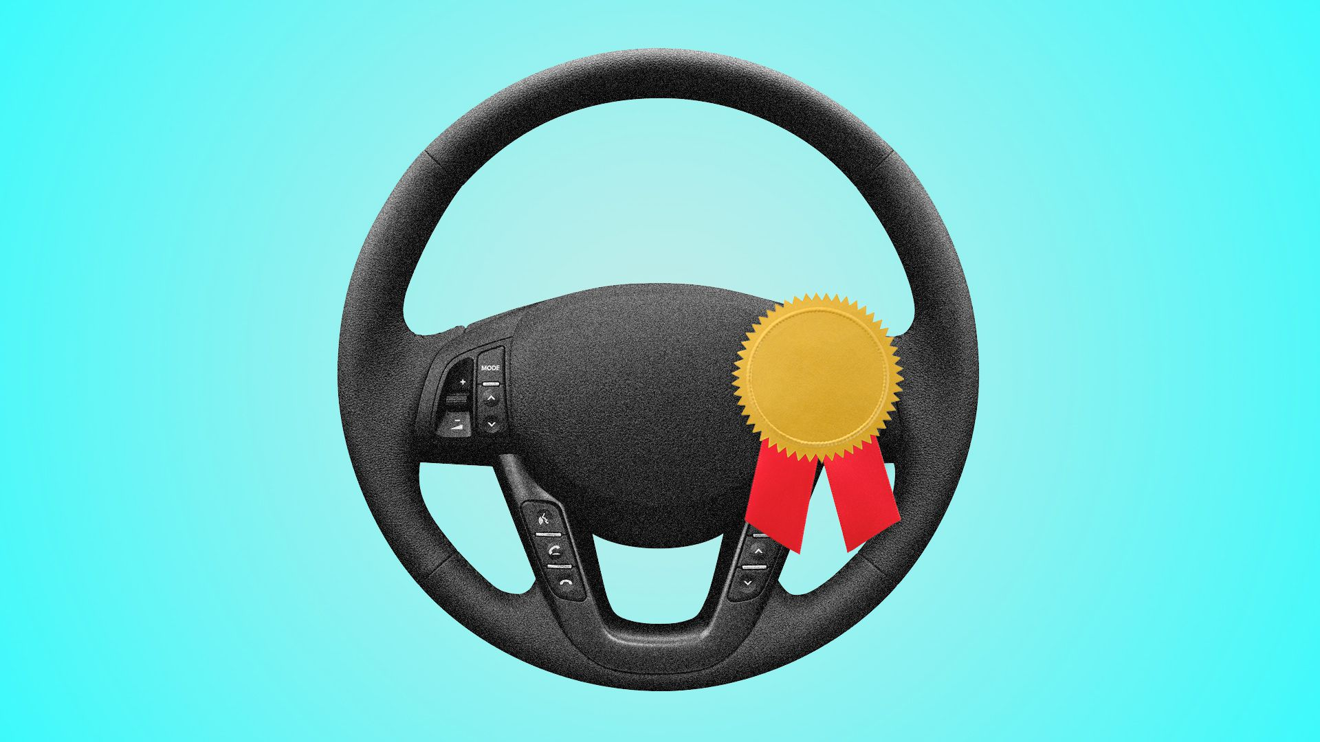 Illustration of a steering wheel with a gold medal pinned to it.