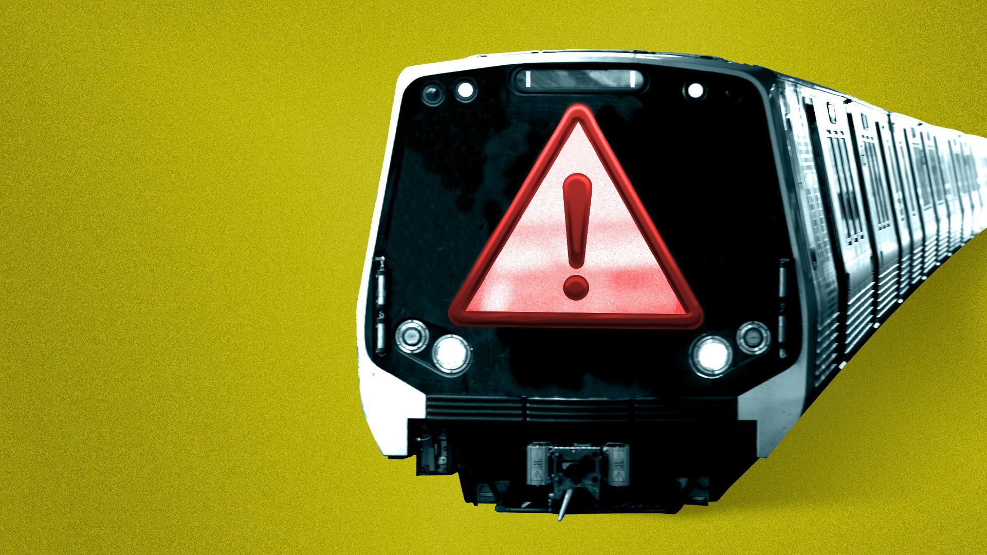 Illustration of a Metro train with a front window shaped like a danger sign.