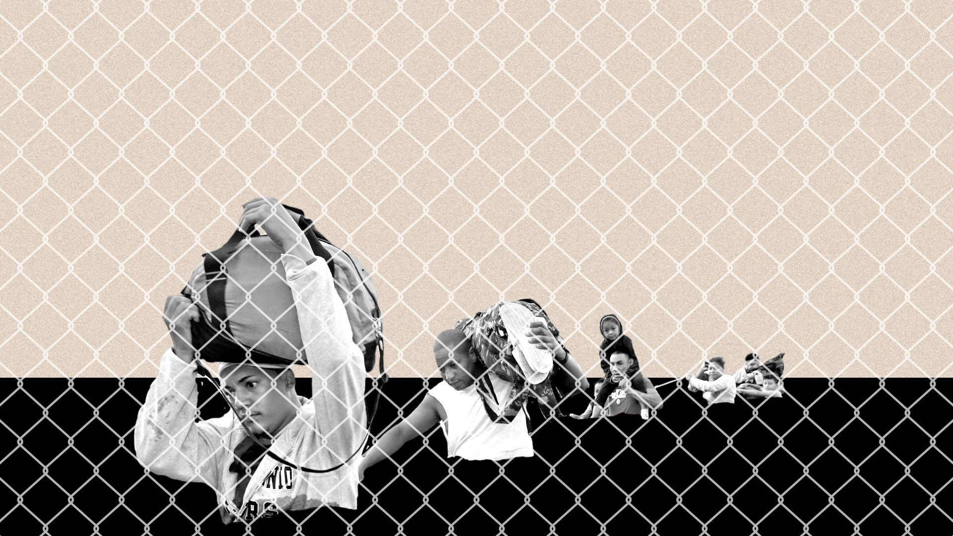 Illustrated collage of migrants wading through a dark background with a chain link fence texture on top.