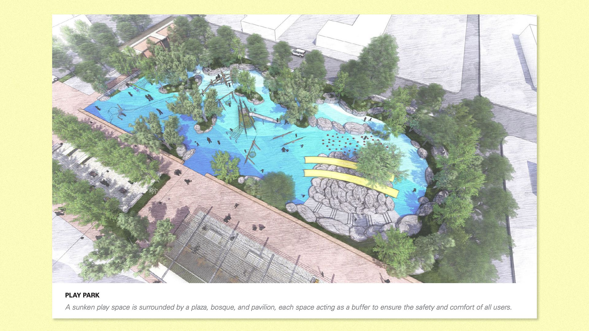 An artist's rendering of the park under the alternative plan.