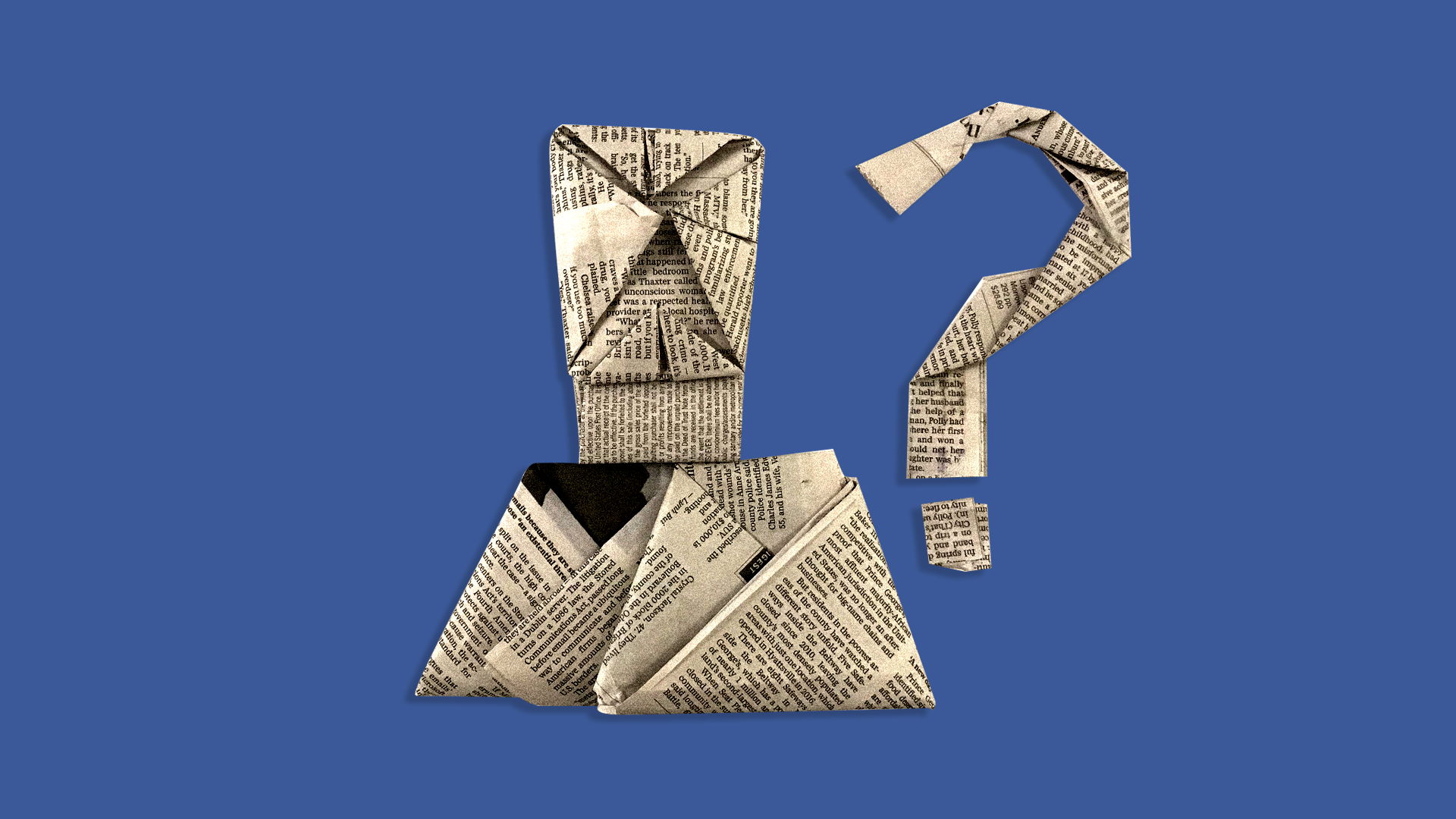 An illustration of a newspaper in a question mark shape against a Facebook blue background