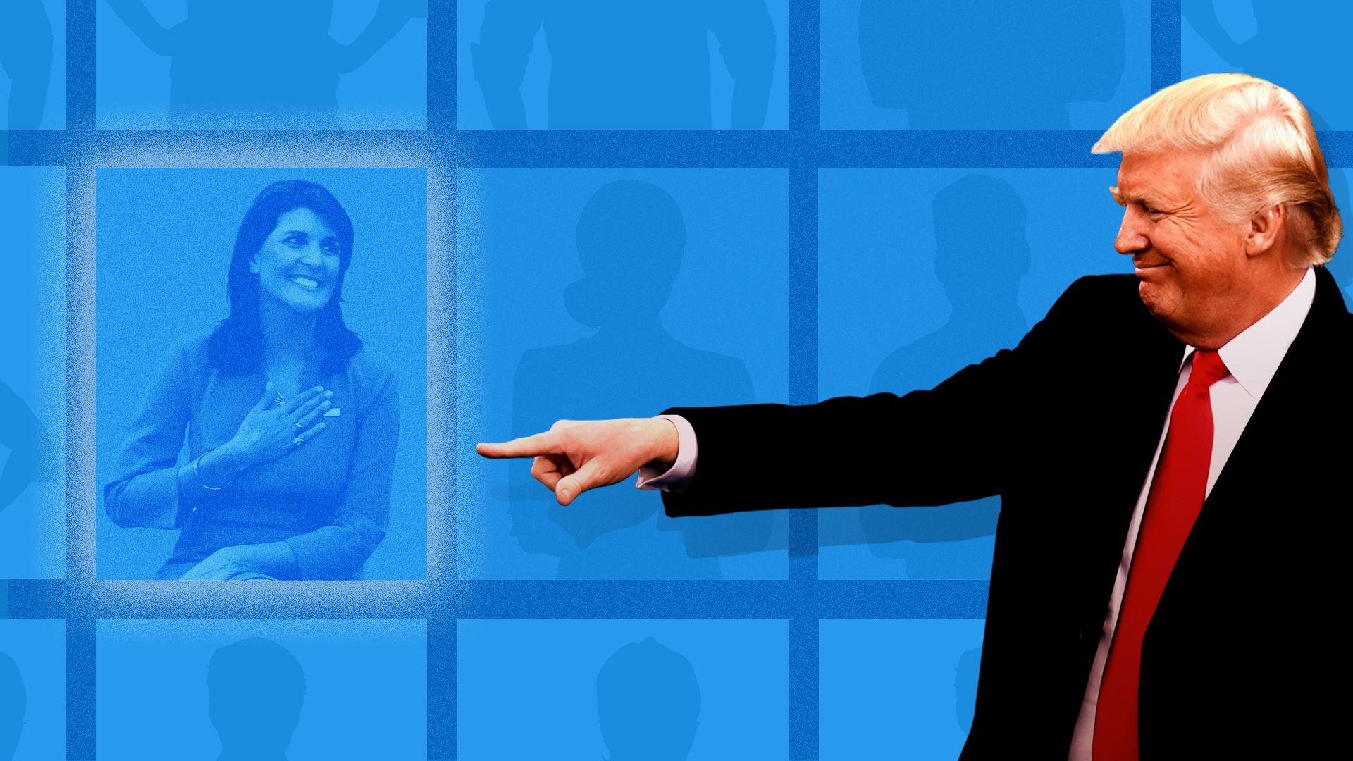 Illustration: Trump pointing at flattered Nicki Haley.