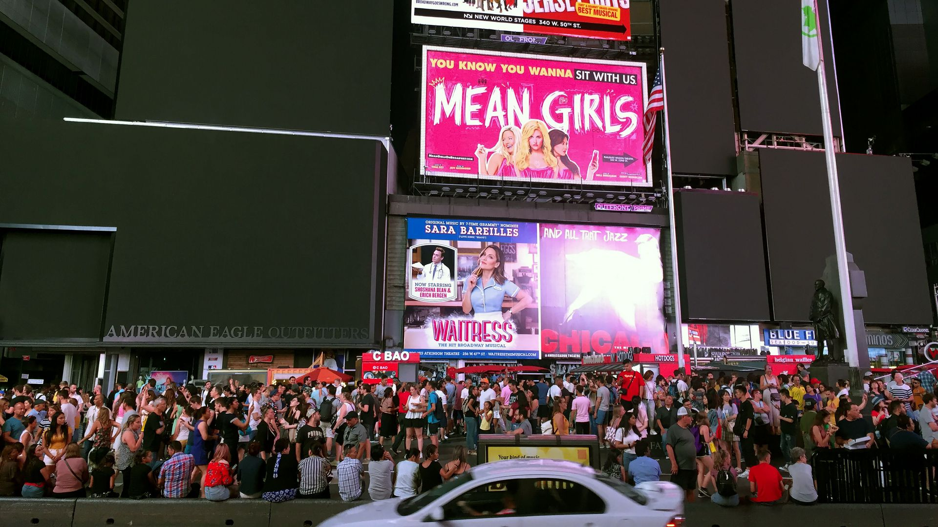 Times Square's billboards are seen black after a power outage hit Manhattan in New York City on July 13, 2019.