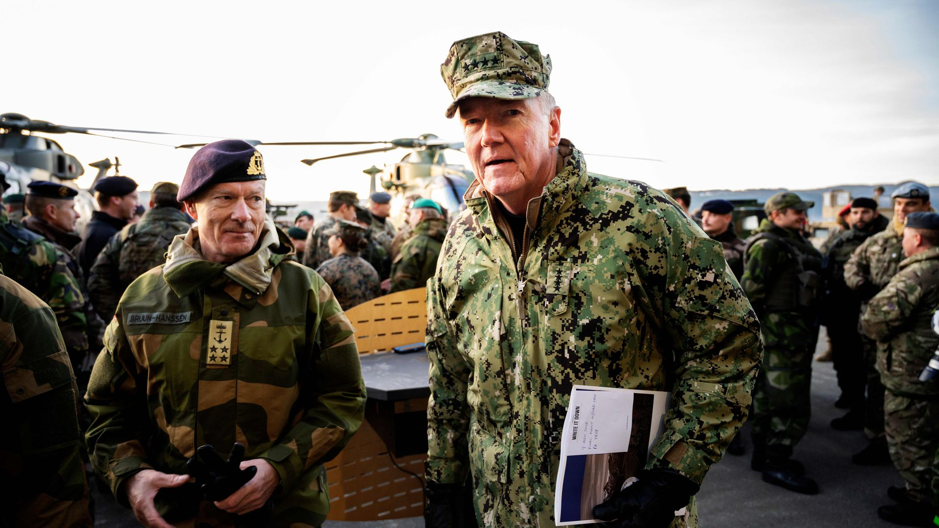 U.S. Admiral James G Foggo, Commander of the NATO Trident Juncture exercise, and Norway's Chief of Defense Admiral Haakon Bruun-Hanssen
