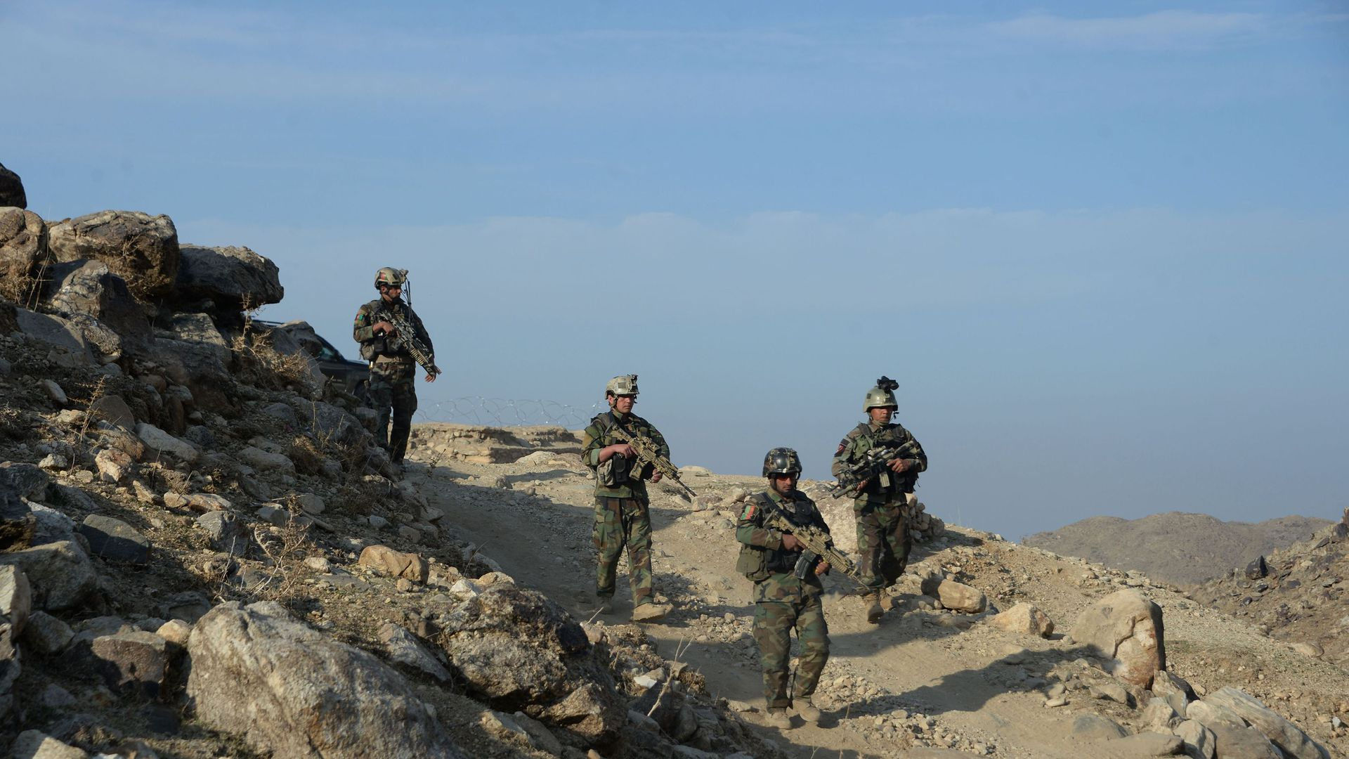 Afghan commando forces on patrol