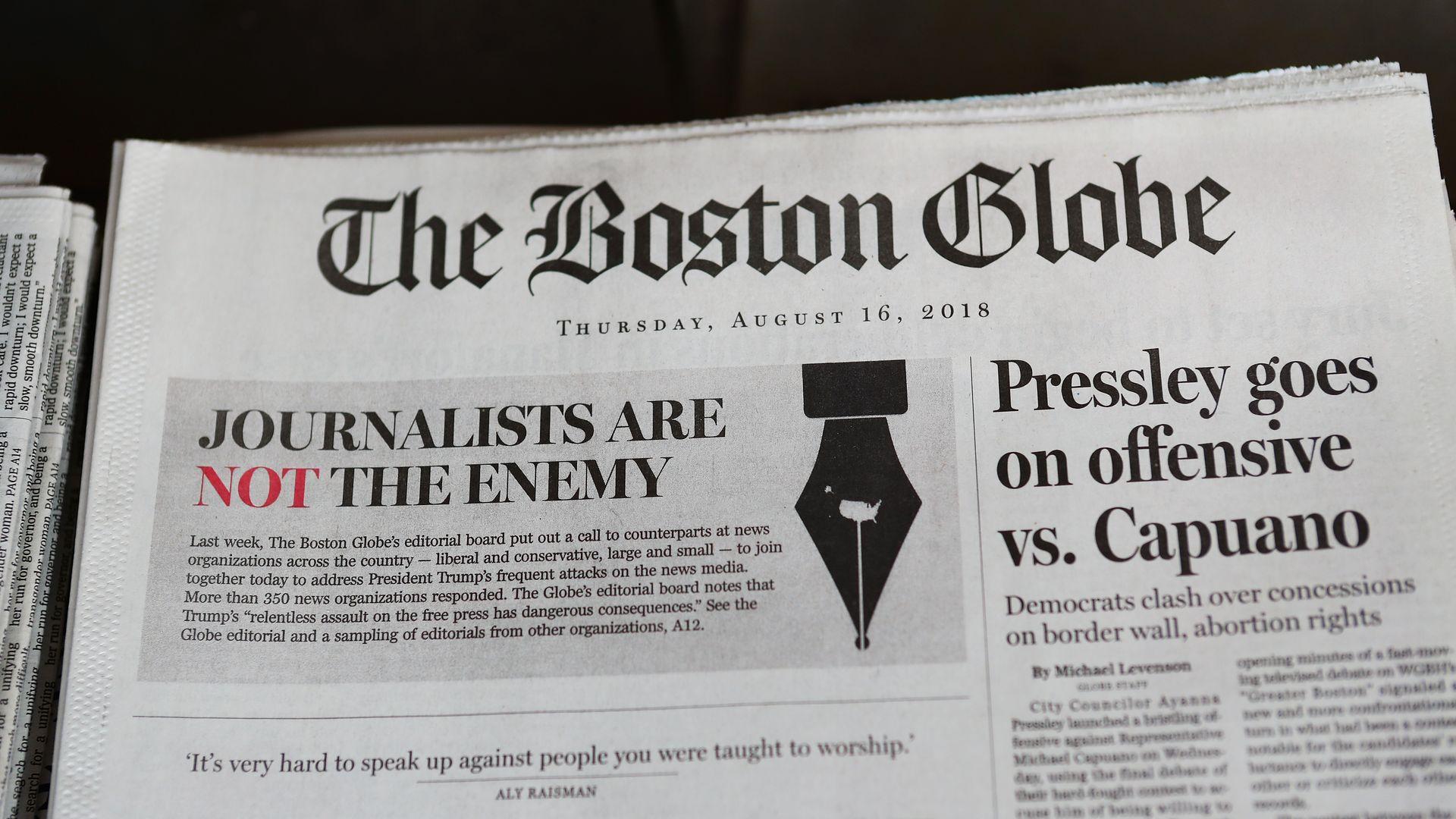 Boston Globe receives threat after anti-Trump editorial