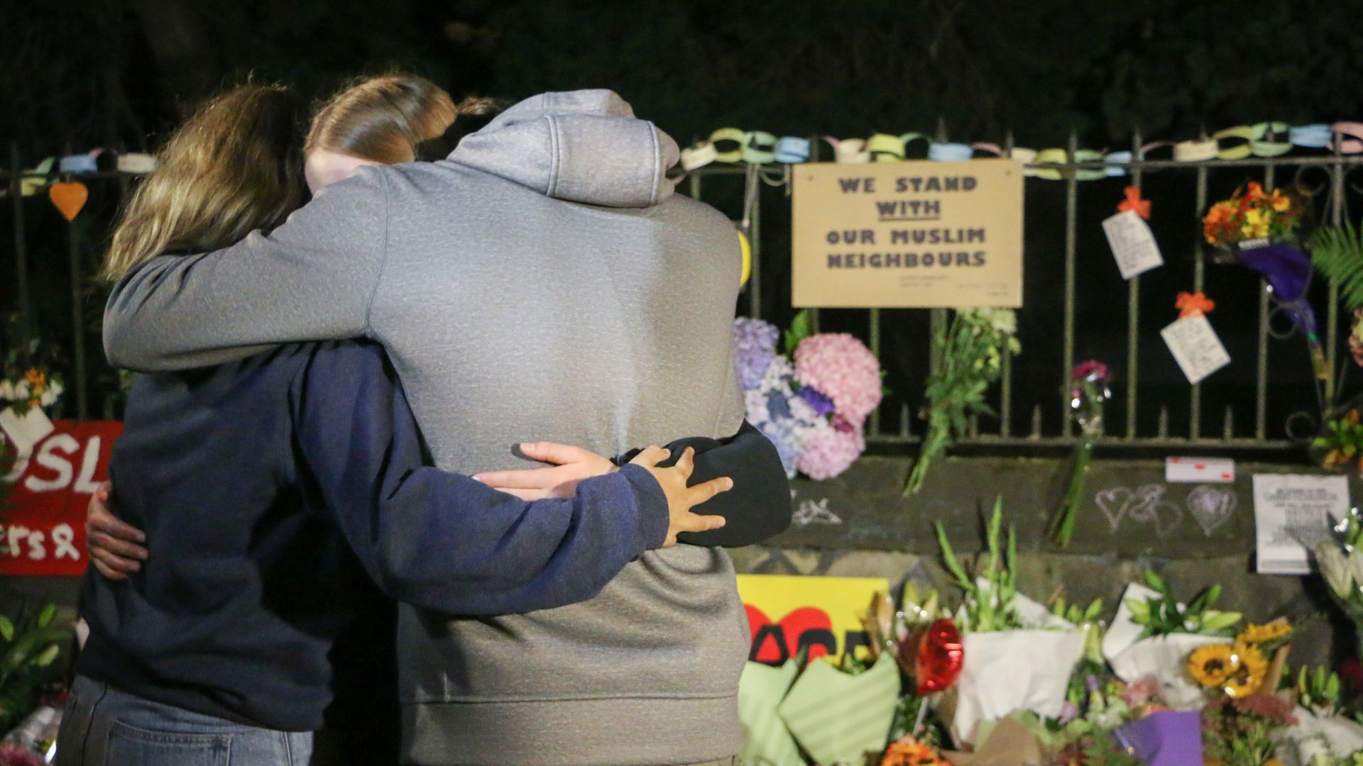 People pay their respects to the victims of the Christchurch mosques shooting in the South Island city.