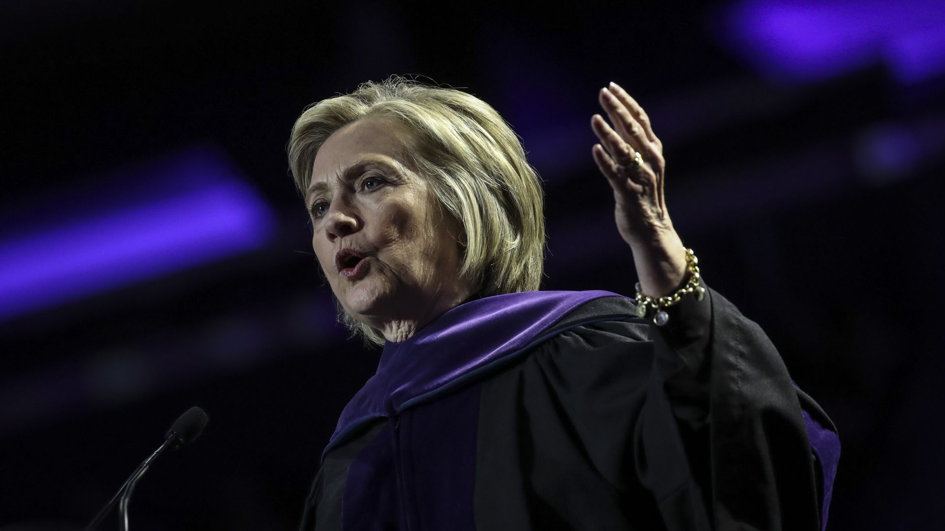Former U.S. Secretary of State Hillary Clinton delivers the commencement address at the Hunter College Commencement ceremony at Madison Square Garden, May 29, 2019 in New York City.