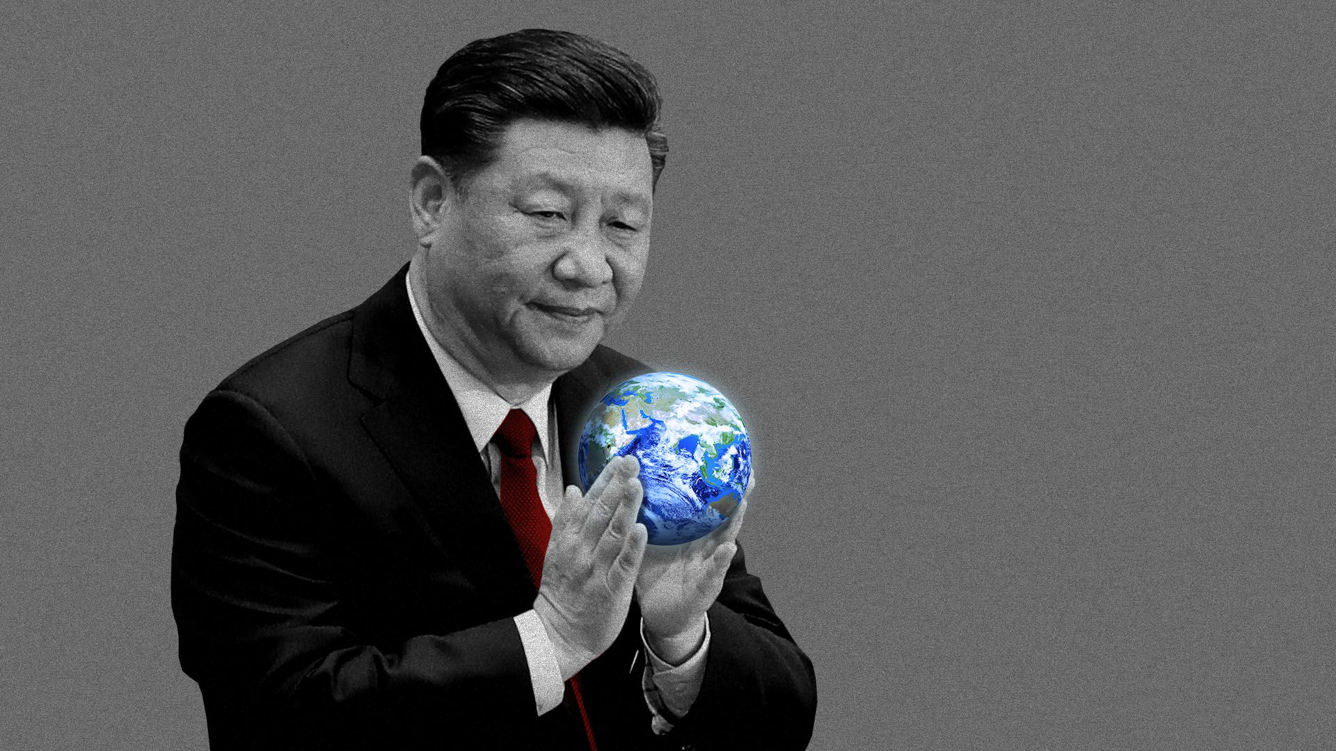 Illustration of President Xi Jinping holding a small globe