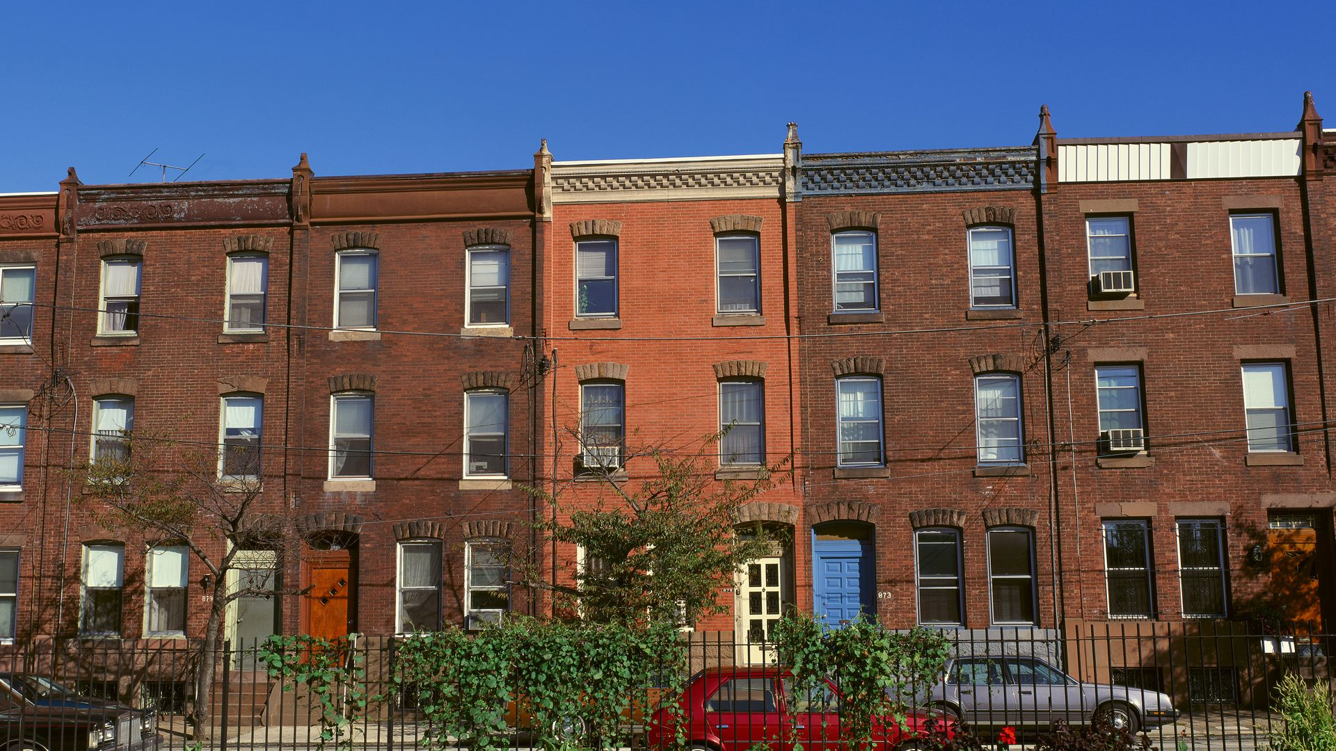 A view of red brick row houses of Philadelphia.
