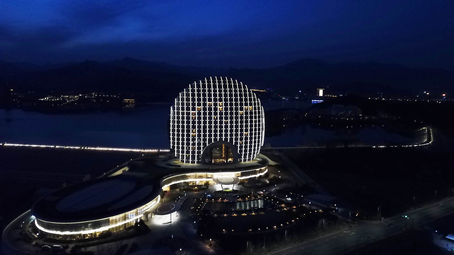 nighttime view of Belt and Road Forum venue in Beijing