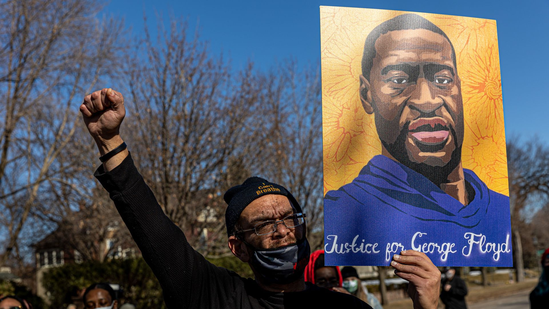 Chaz Neal, a Redwing community activist, outside the Minnesota Governor's residence during a protest in support of George Floyd in St.Paul, Minnesota, on March 6.