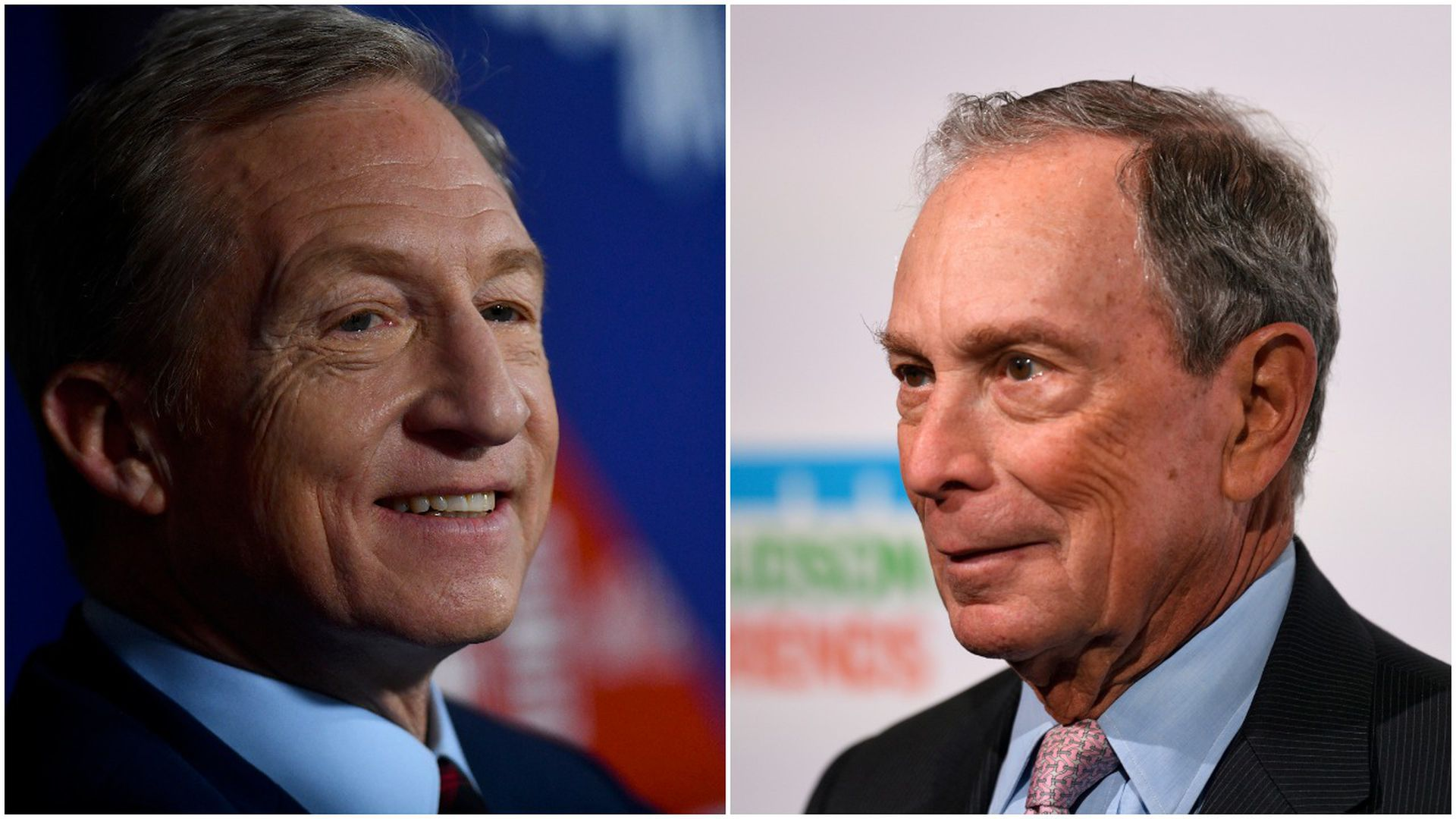 This image is a split-screen of Tom Steyer and Michael Bloomberg.