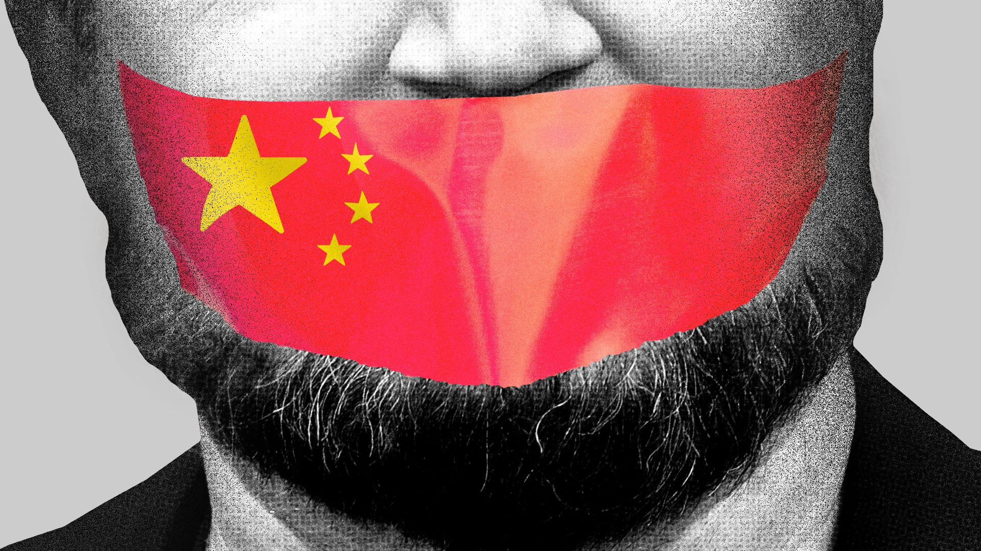 Illustration of a close up of Daryl Morey's face with tape over his mouth, the tape is the Chinese flag.