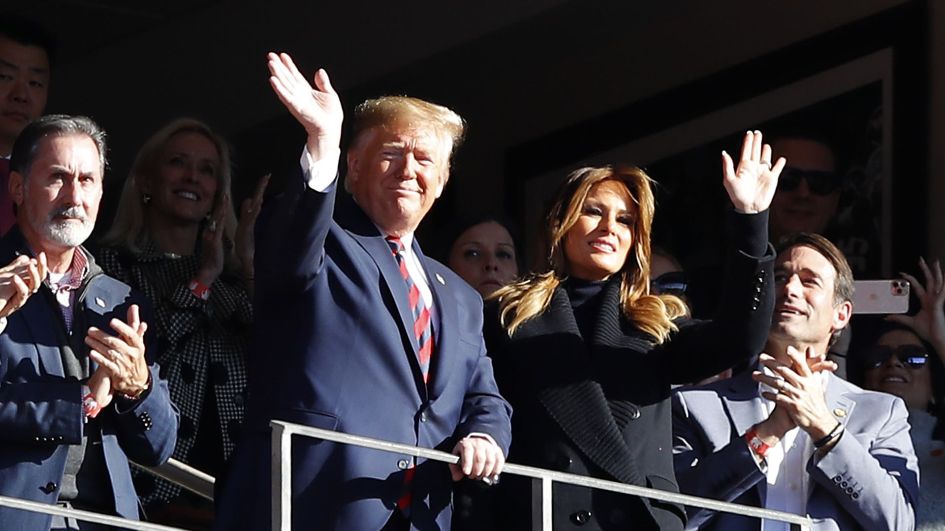 President Donald Trump and first lady Melania Trump attend the game between the LSU Tigers and the Alabama Crimson Tide at Bryant-Denny Stadium on November 09, 2019 in Tuscaloosa, Alabama