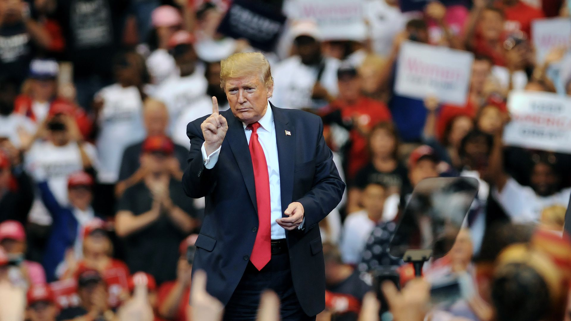 Trump wags his finger at a rally in Florida in November