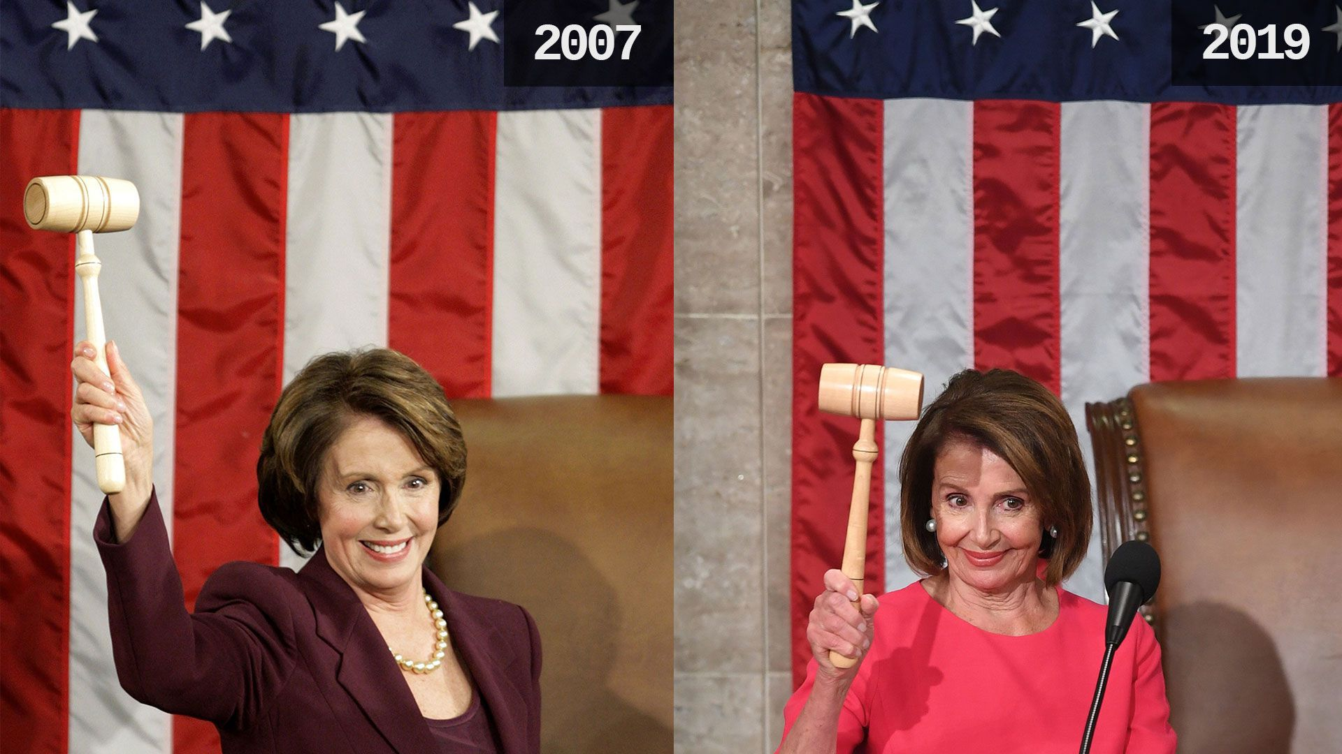 Nancy Pelosi in 2007 and 2018