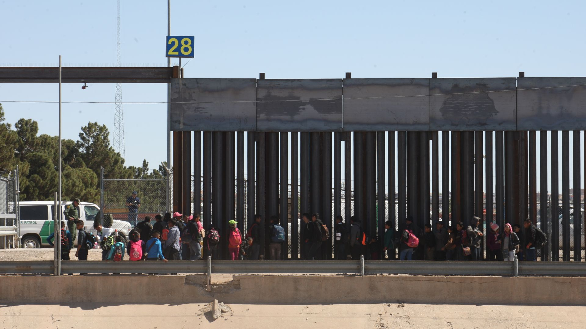 Many groups of Central American migrants were seen, crossing the border, the border patrol said that on average 1,000 migrants cross the border in the city Juarez the Paso Texas on April 22.