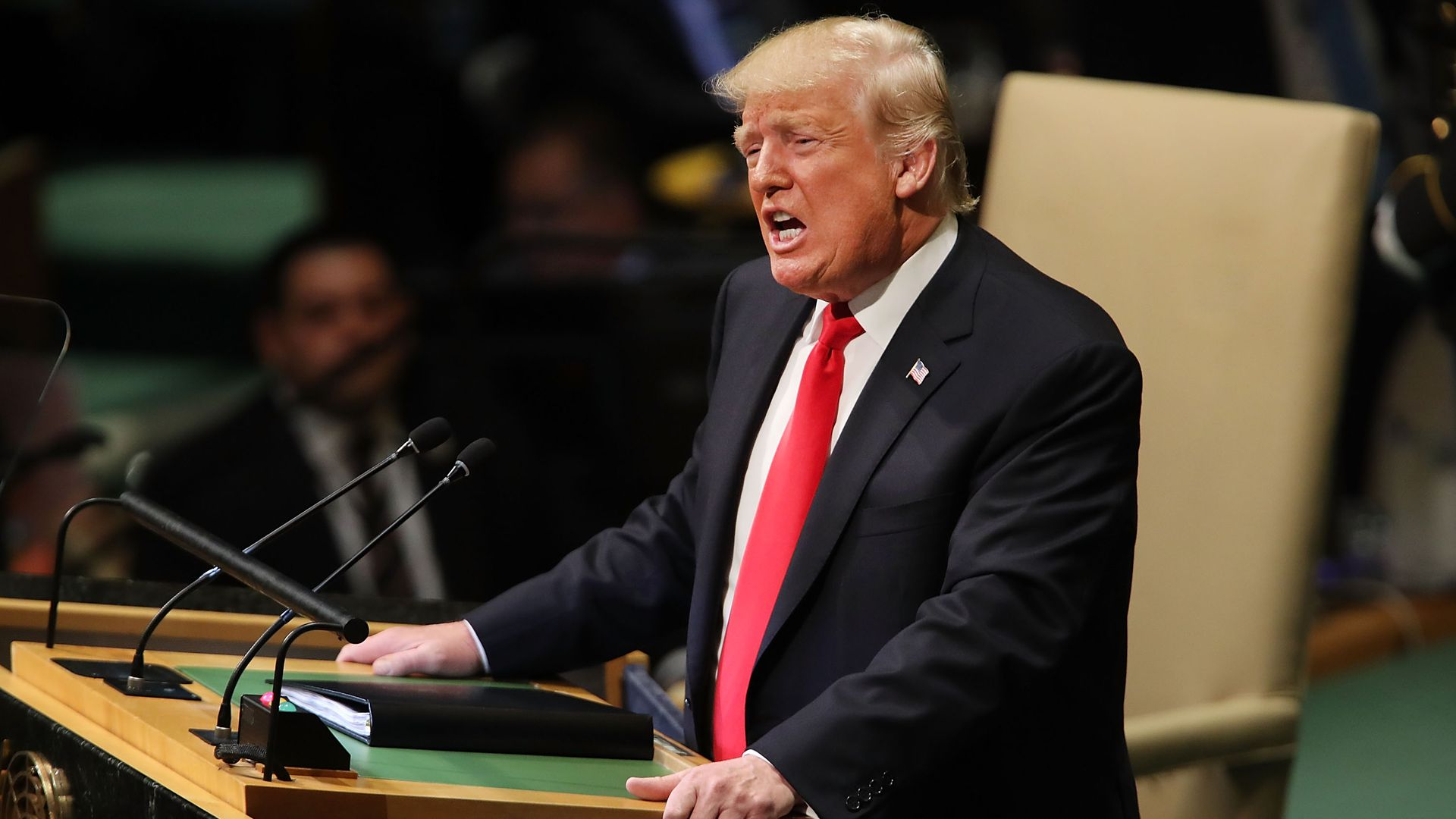 President Donald Trump addresses the 73rd United Nations (U.N.) General Assembly on September 25, 2018 in New York City.
