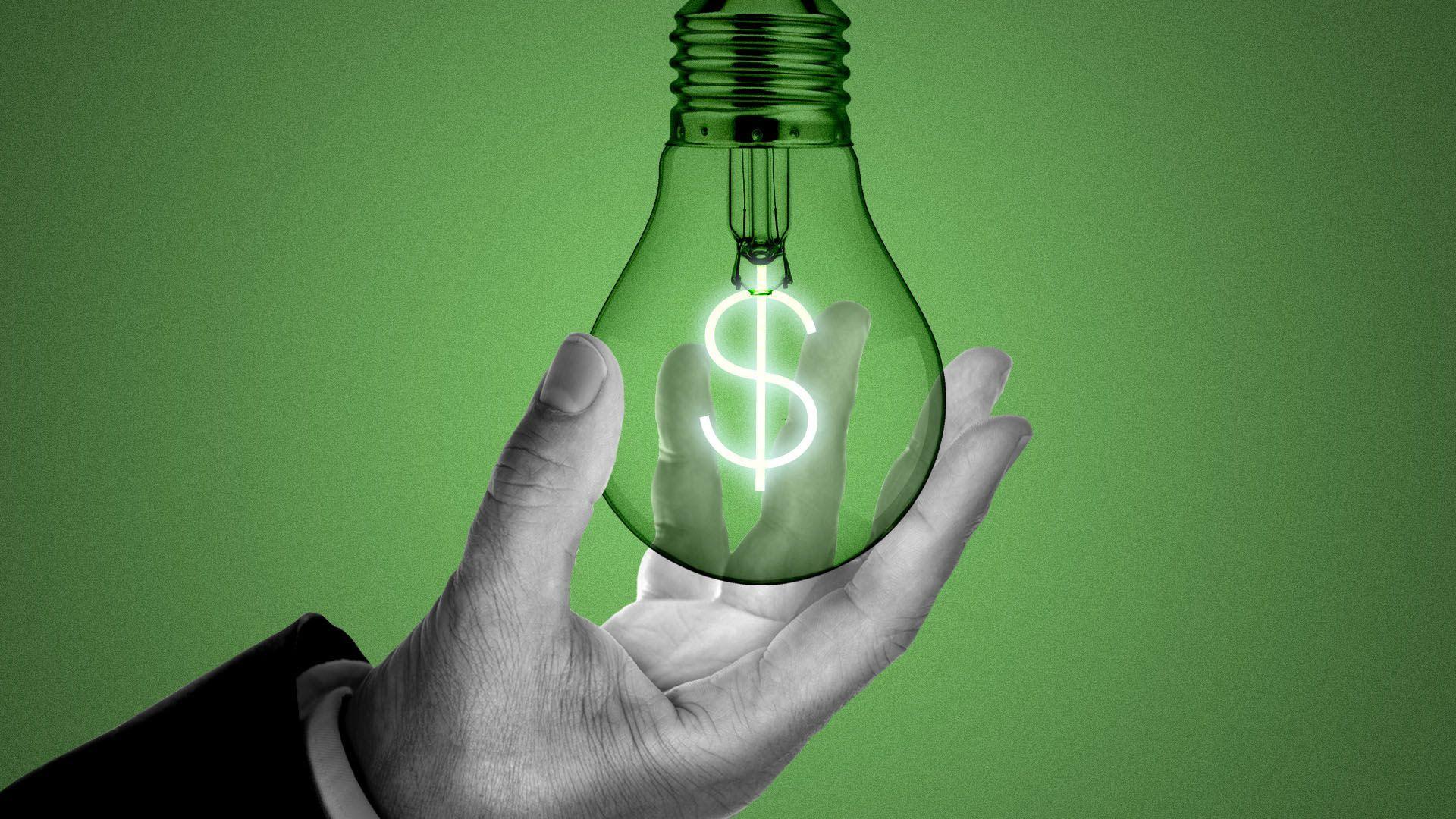 An illustration of a hand holding a lightbulb.