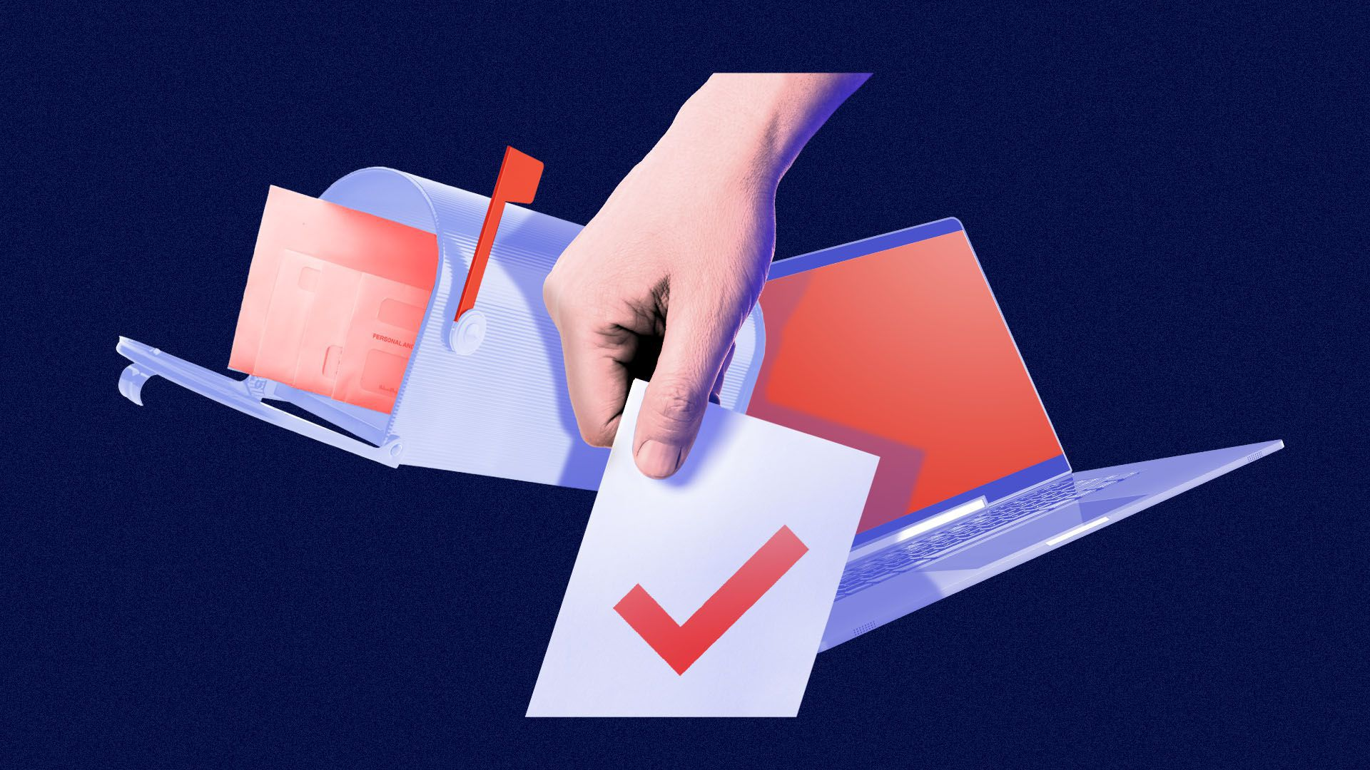 Illustrated collage of a hand casting a ballot with a mailbox and laptop in the background