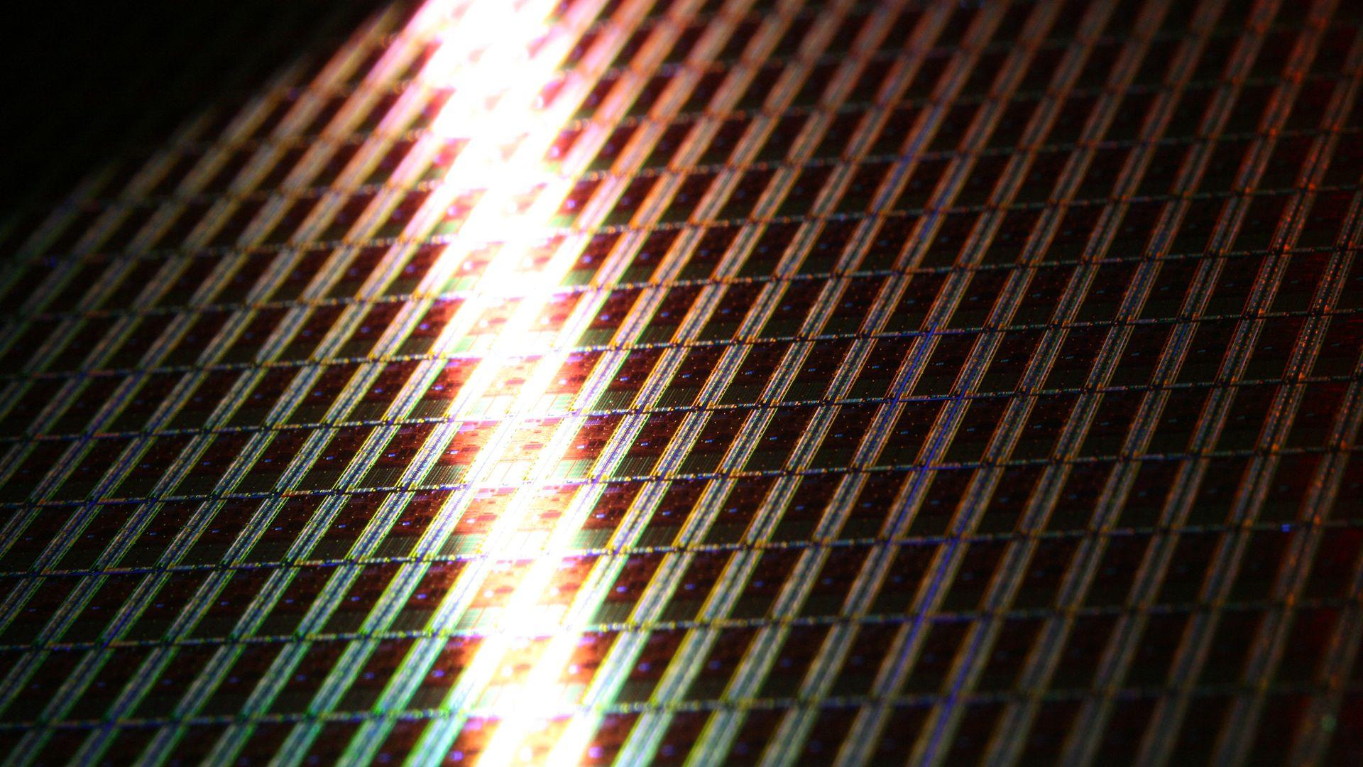 An Intel chip wafer